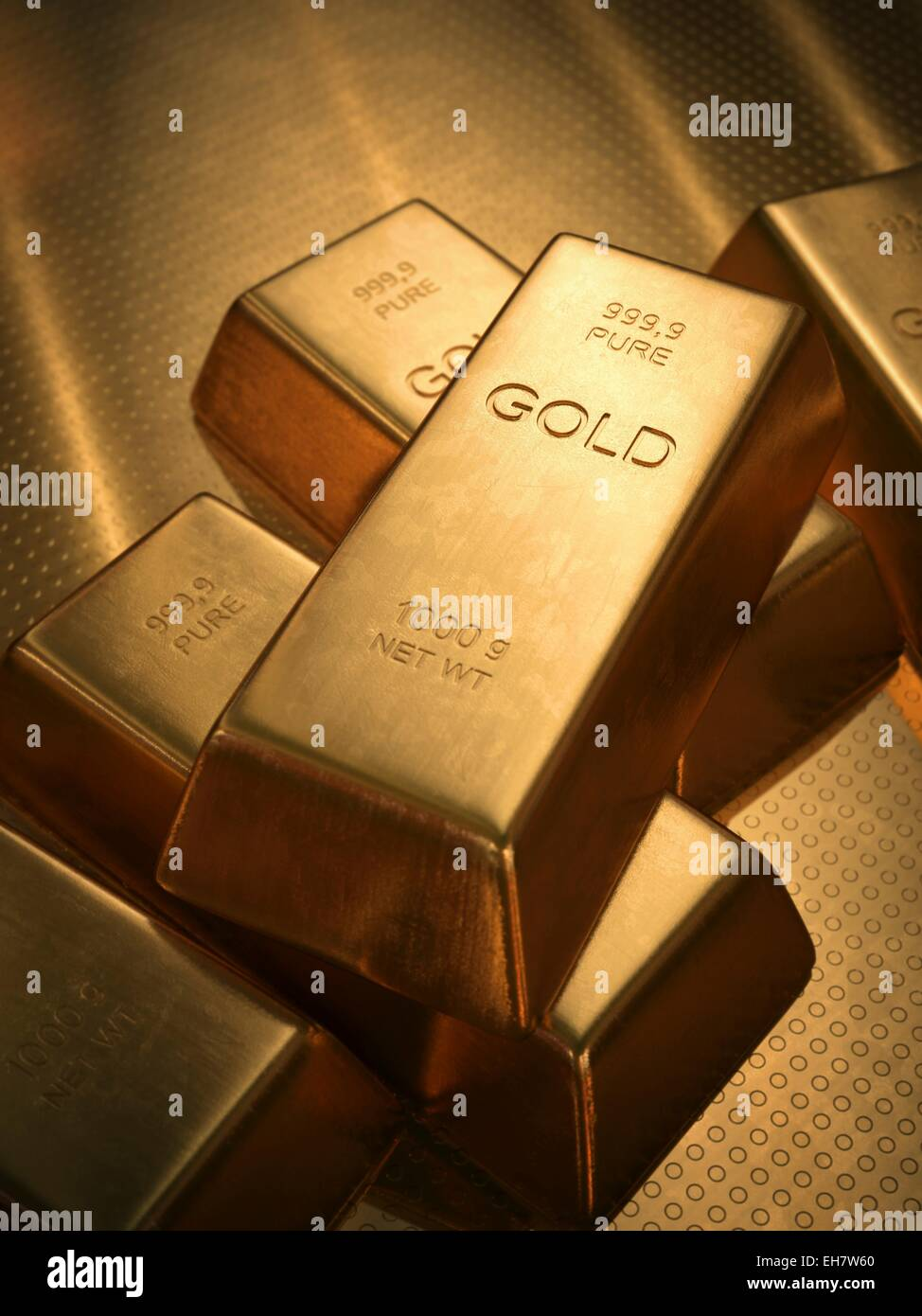 Gold bullion, illustration - Stock Image