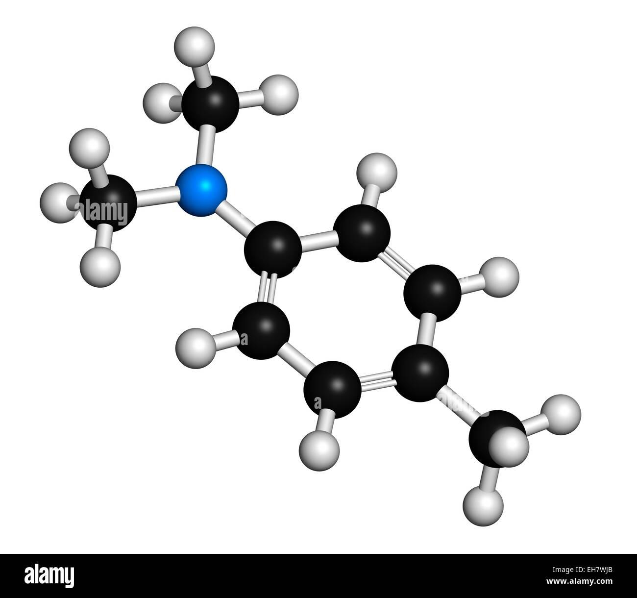N,N-dimethyl-p-toluidine (DMPT) molecule - Stock Image