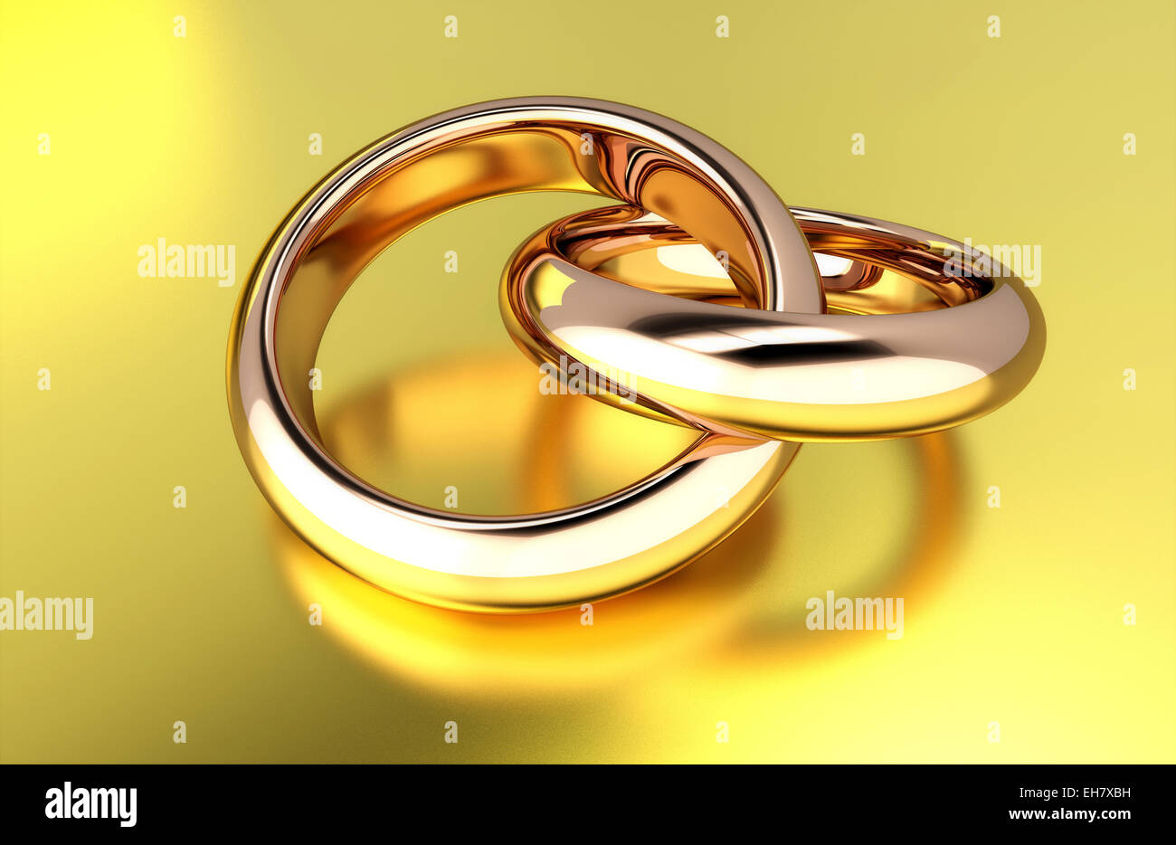 Two linked gold rings, illustration - Stock Image