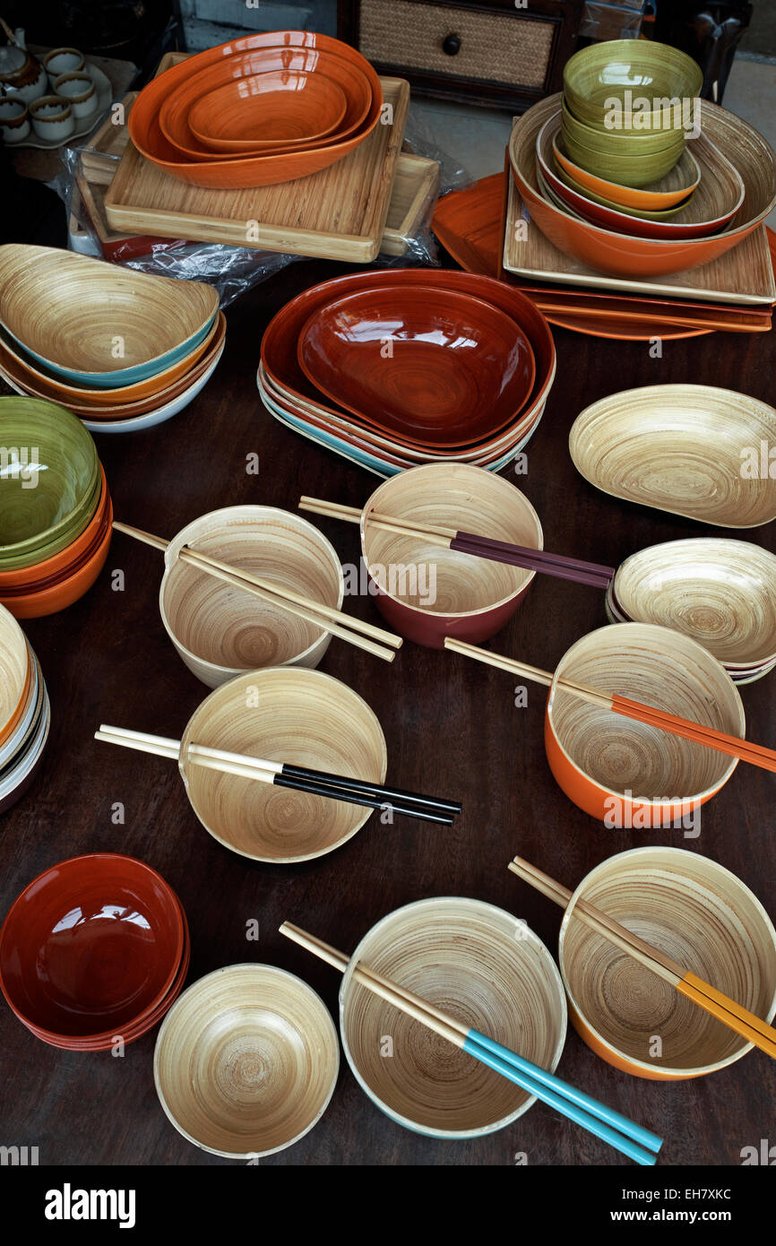 Polished and colourful bamboo wooden bowls, dishes and general household utensils. Thailand S. E. Asia - Stock Image