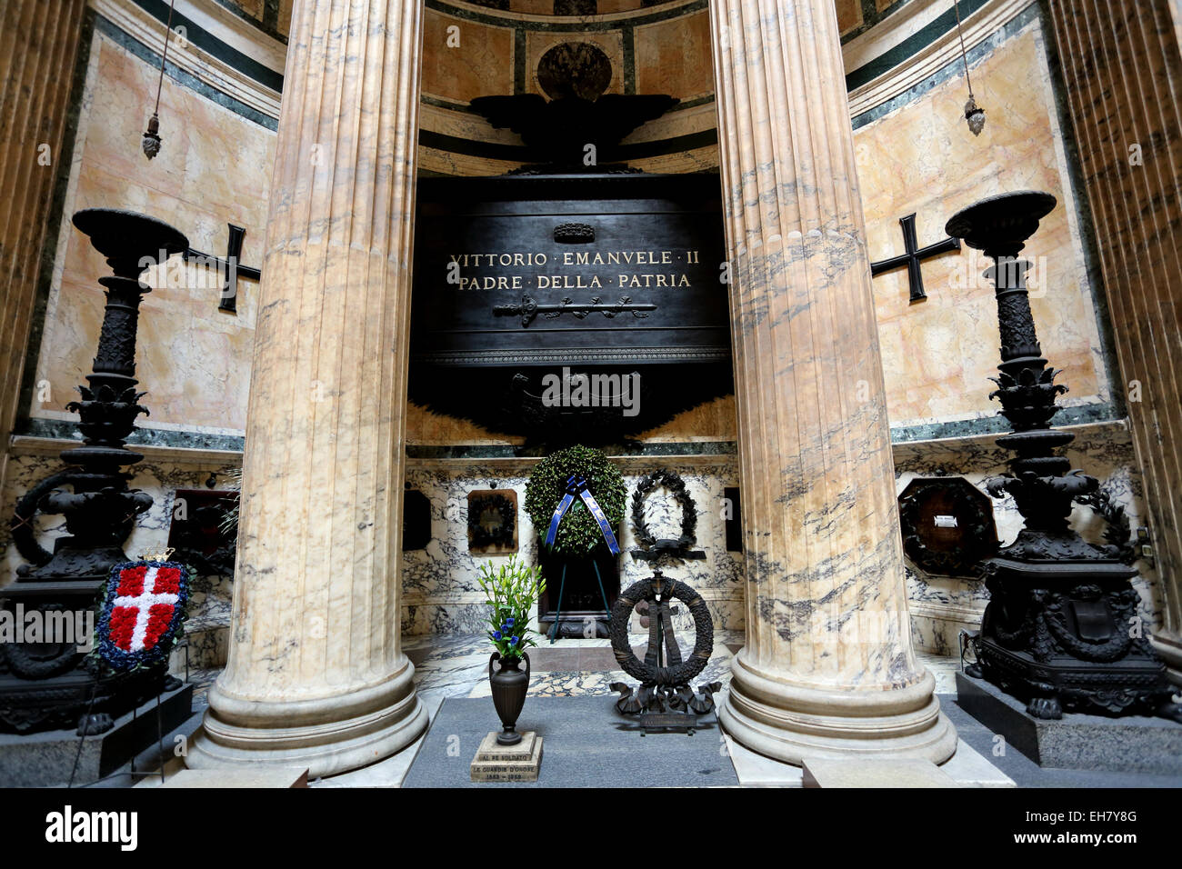 The tomb of Victor Emanuel II in the Pantheon Rome Italy - Stock Image