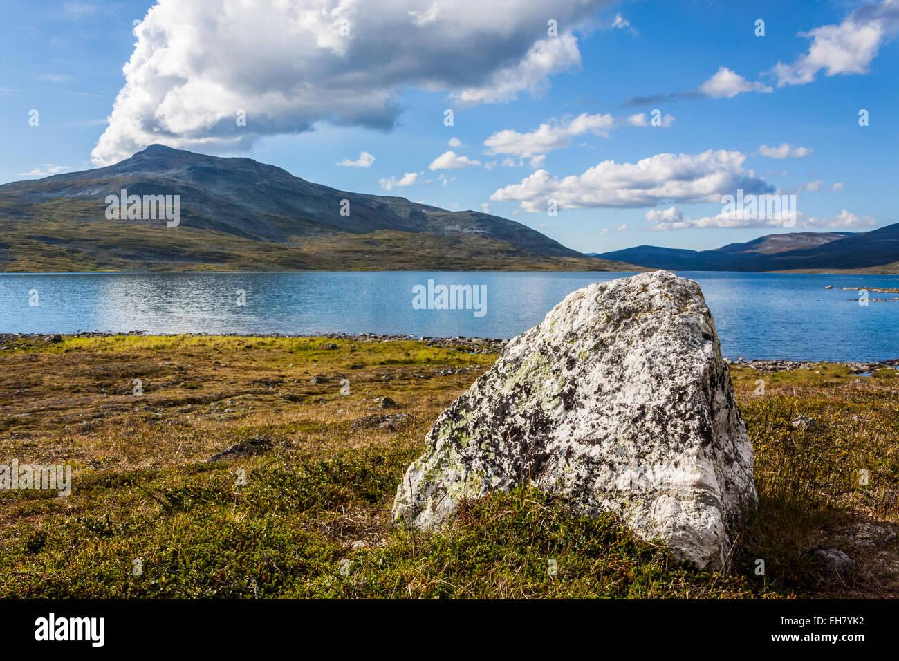 At the shore of Lake Pihtsusjärvi in Finnish Lapland - Stock Image