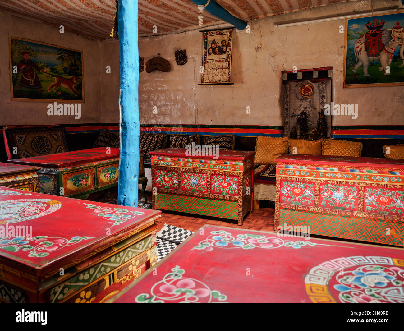 Traditional Tibetan Style Furniture In A Dining Room In Ghami, Upper  Mustang, Nepal