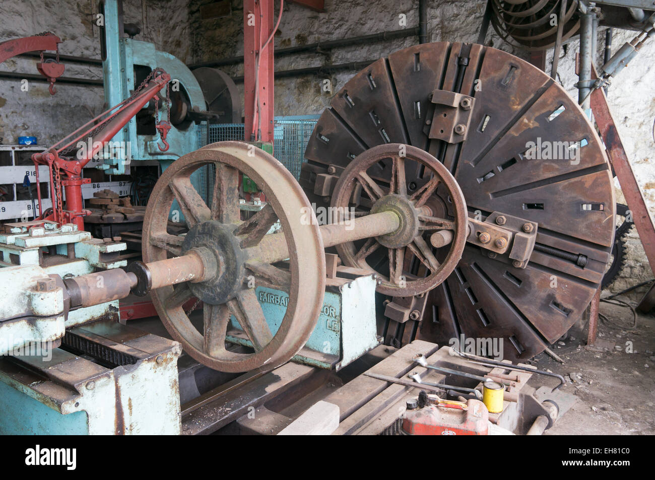 A wheel lathe loaded with a wagon axle in the Bowes Railway