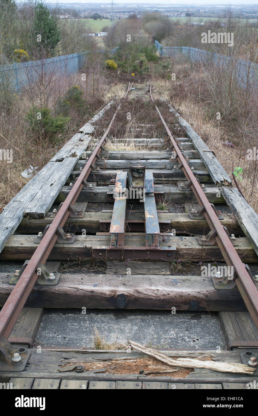The top of the self acting or gravity incline of the Bowes rope hauled railway at Springwell, north east England, - Stock Image