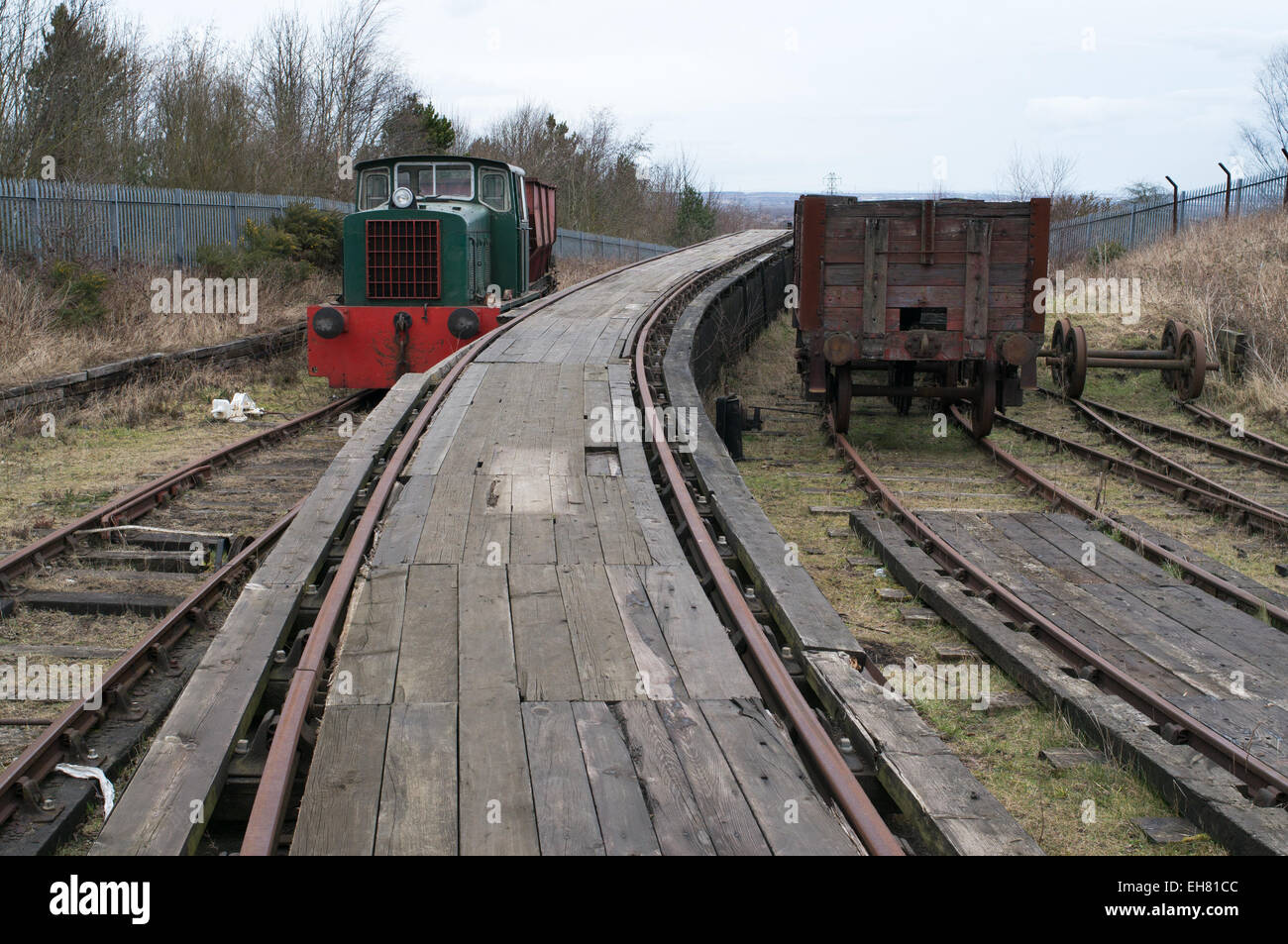 Approaching the top of the self acting incline of the Bowes rope hauled railway at Springwell, north east England, Stock Photo