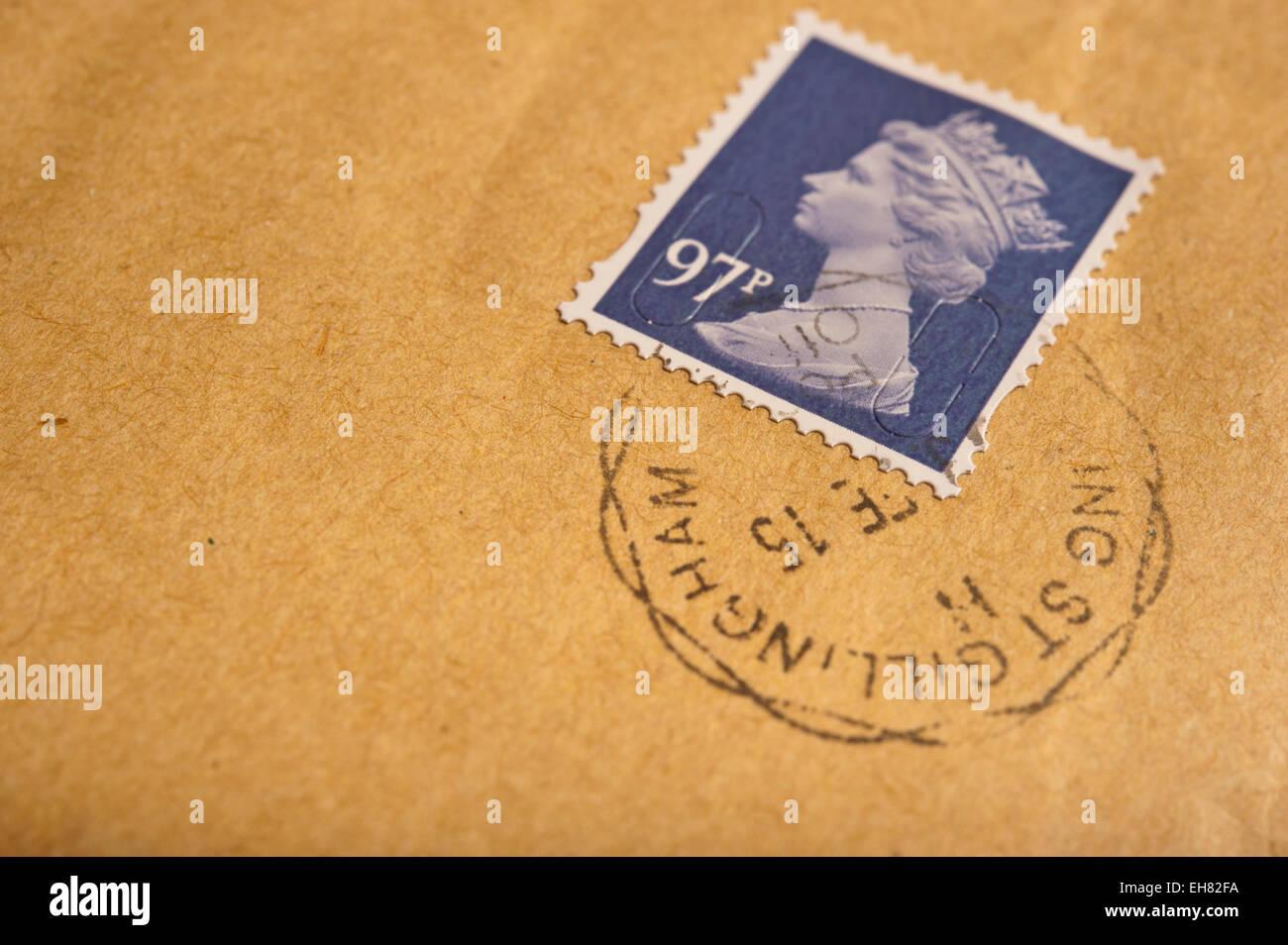 UK stamp on an envelope - Stock Image