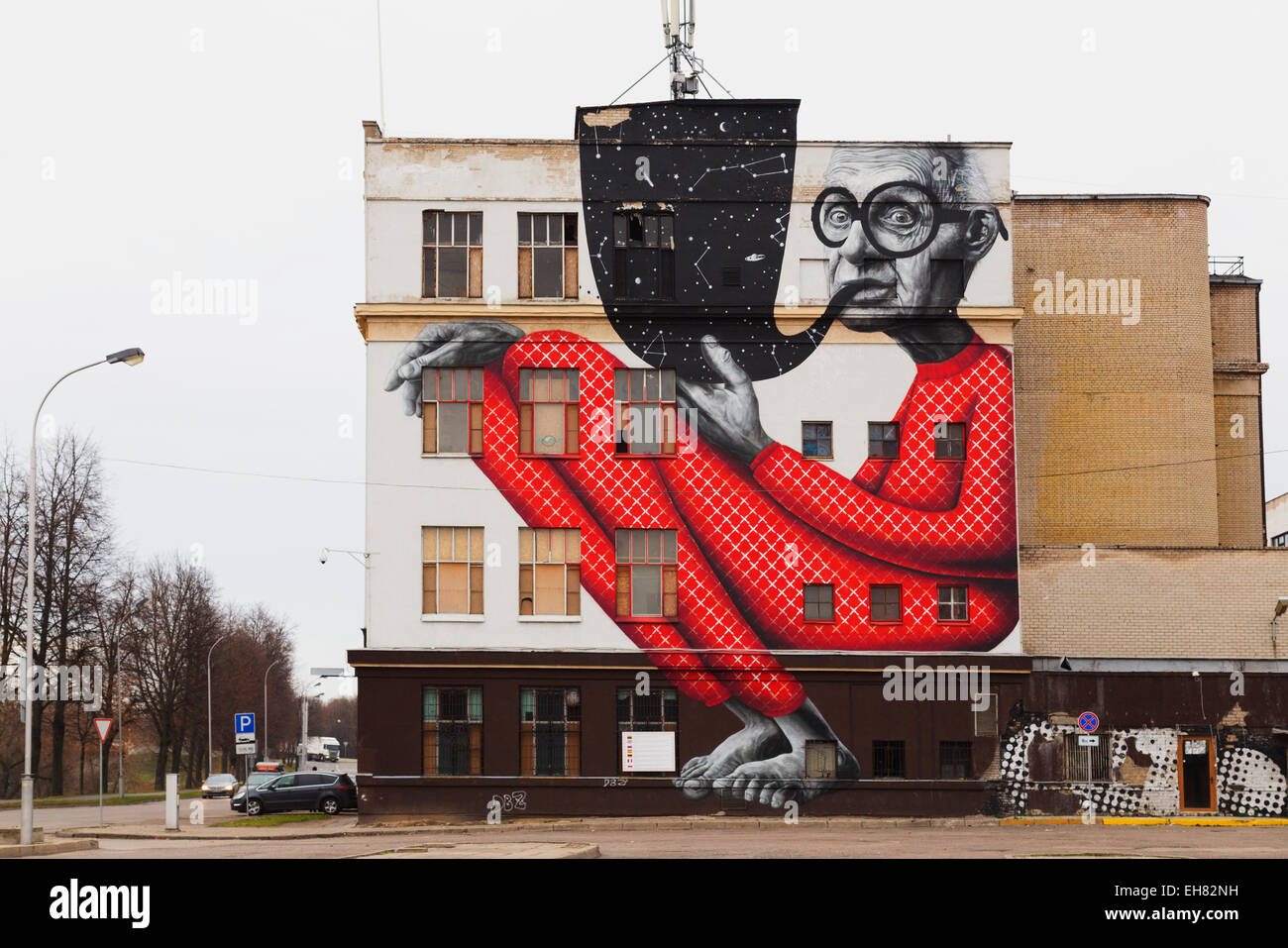 Wall art, Kaunas, Lithuania, Europe - Stock Image
