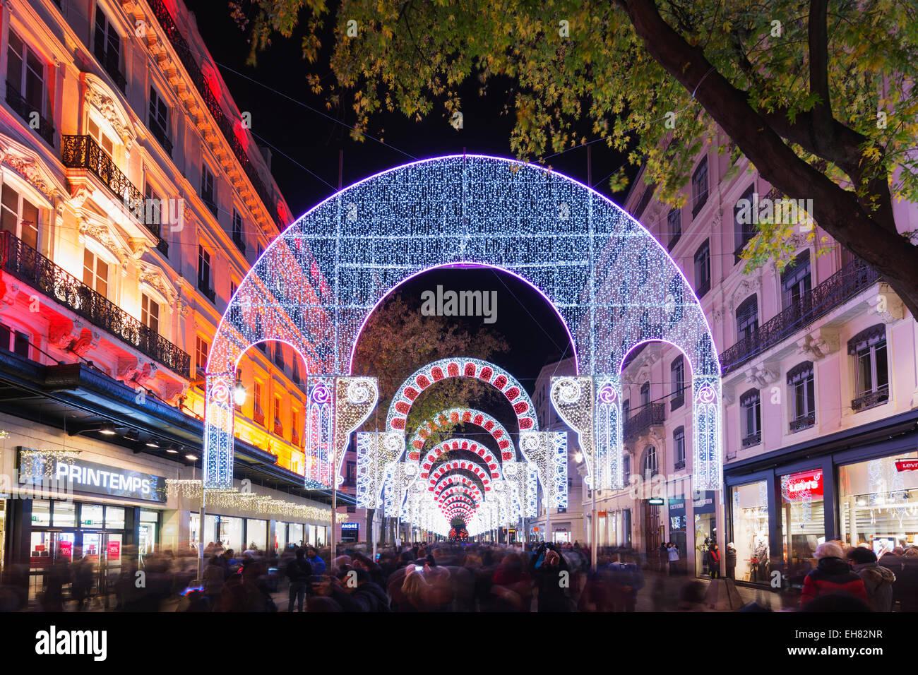 Fete des Lumieres (Festival of Lights), Lyon, Rhone-Alpes, France, Europe - Stock Image