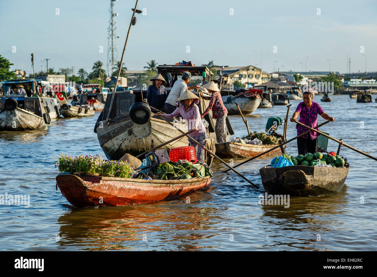 Cai Rang floating market at the Mekong Delta, Can Tho, Vietnam, Indochina, Southeast Asia, Asia - Stock Image
