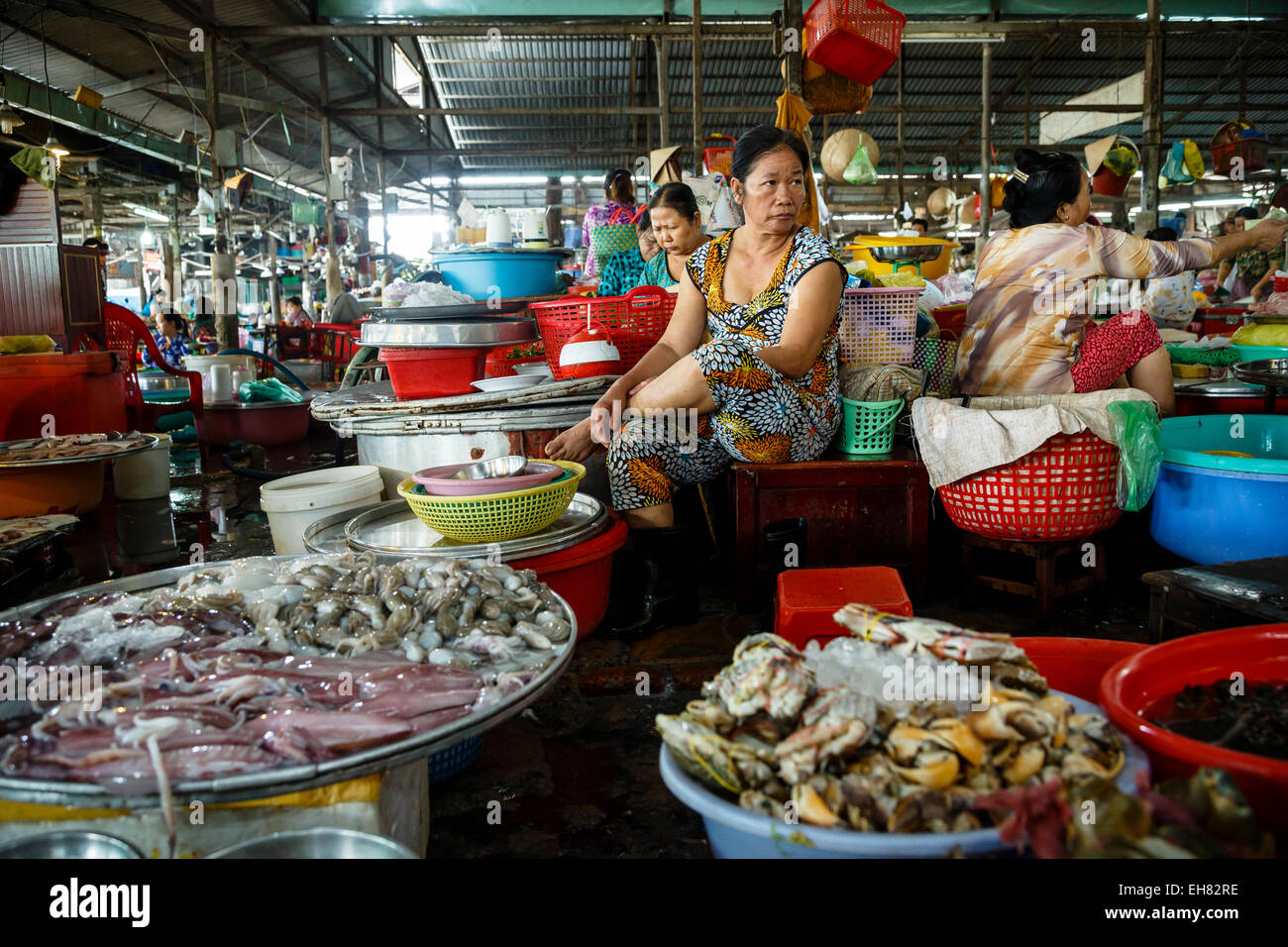 Can Tho Market, Mekong Delta, Vietnam, Indochina, Southeast Asia, Asia - Stock Image