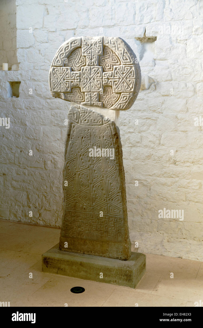 Cross of Houelt, late 9th early 10th century Celtic Cross, St Illtyds Church, Llantwit Major, Vale of Glamorgan, - Stock Image