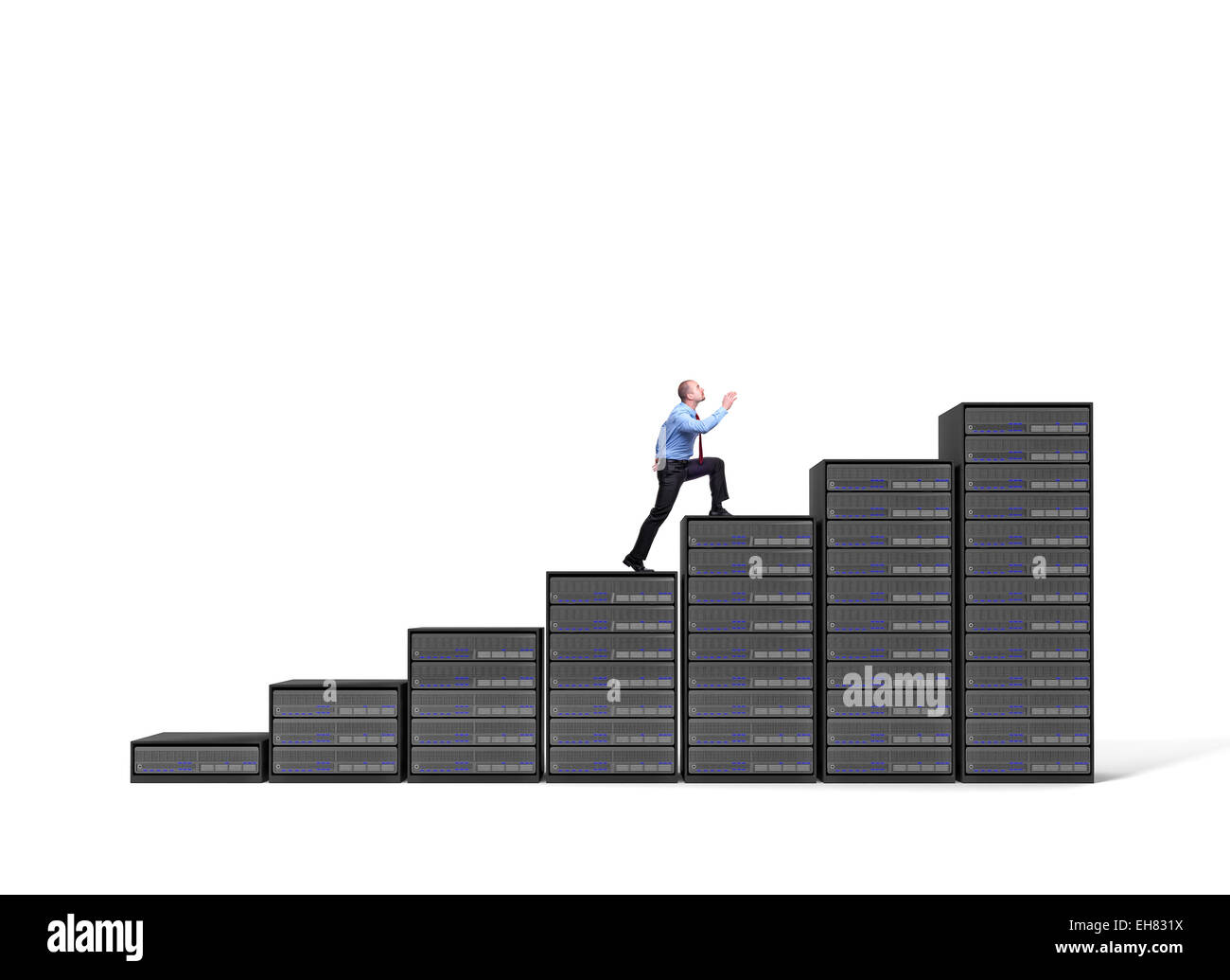 businessman and server stair 3d background - Stock Image