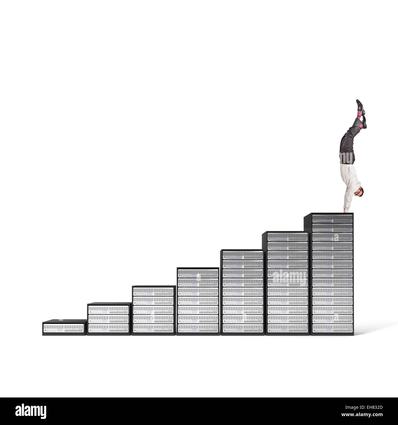 acrobat businessman on server 3d stair - Stock Image