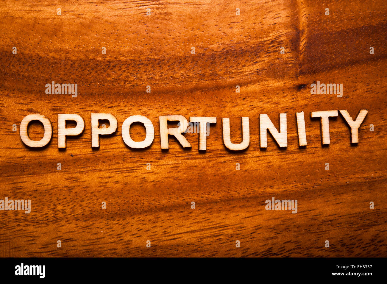 word opportunity written with wooden letters - Stock Image