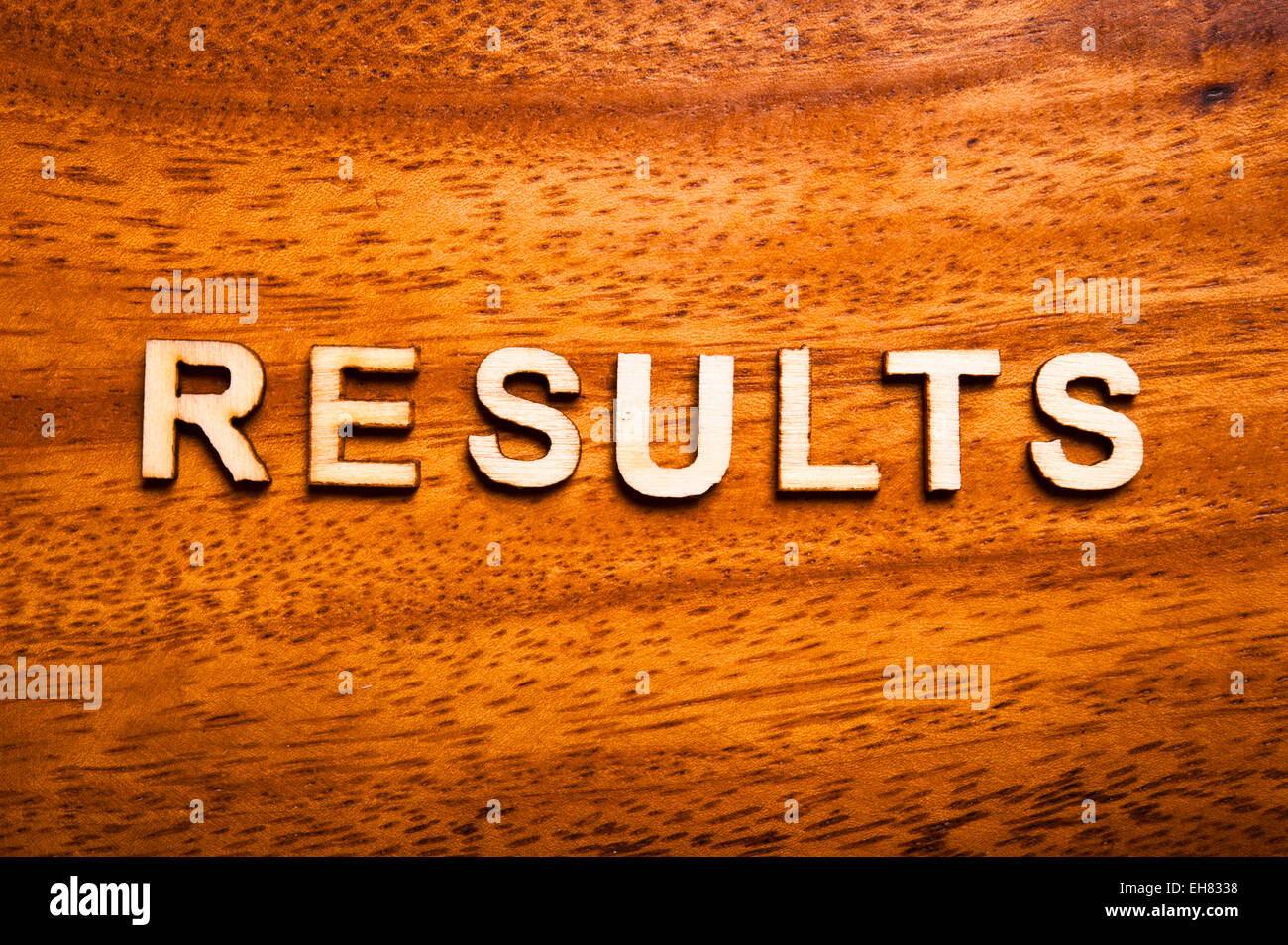 word results written with wooden letters - Stock Image