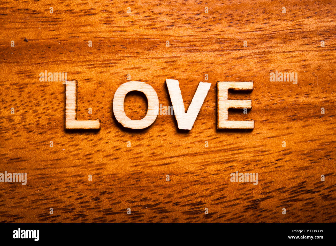 word love written with wooden letters - Stock Image
