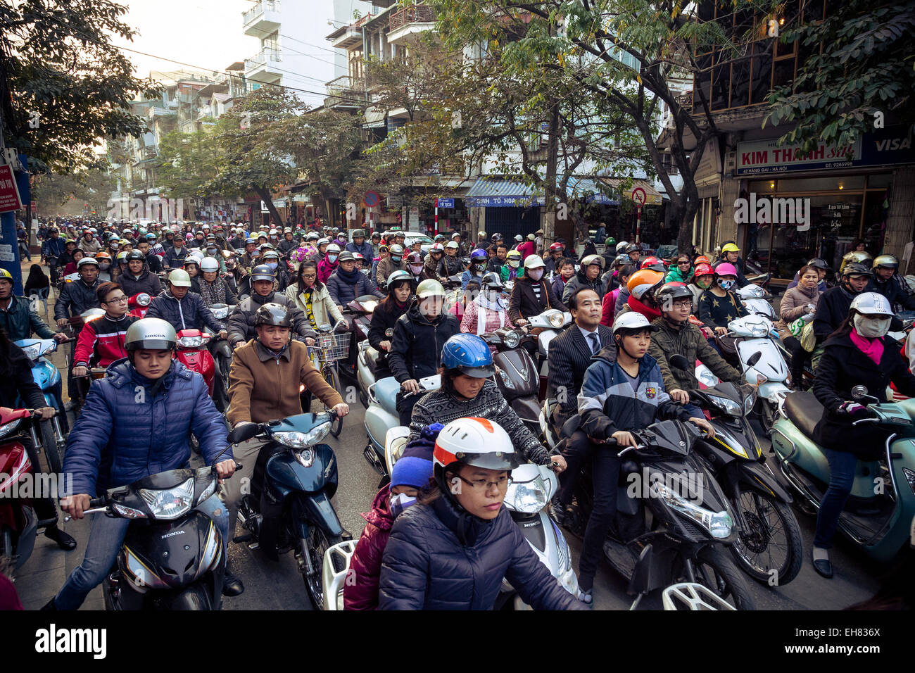 Busy traffic in the old quarter, Hanoi, Vietnam, Indochina, Southeast Asia, Asia - Stock Image
