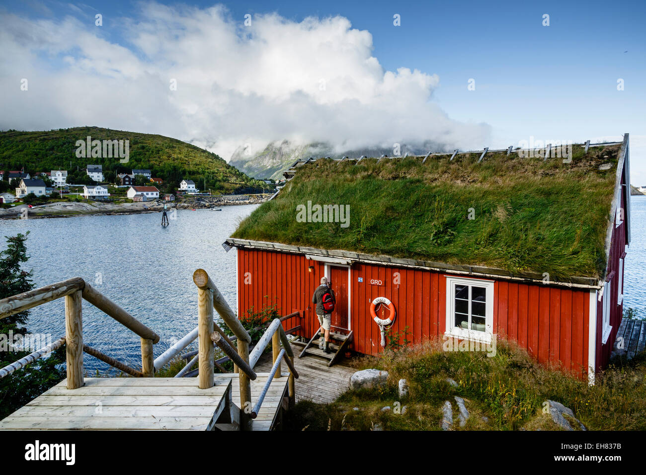 Traditional fishing cabin converted to a hotel, Reine Rorbuer hotel in Reine, Lofoten Islands, Arctic, Norway.Scandinavia - Stock Image