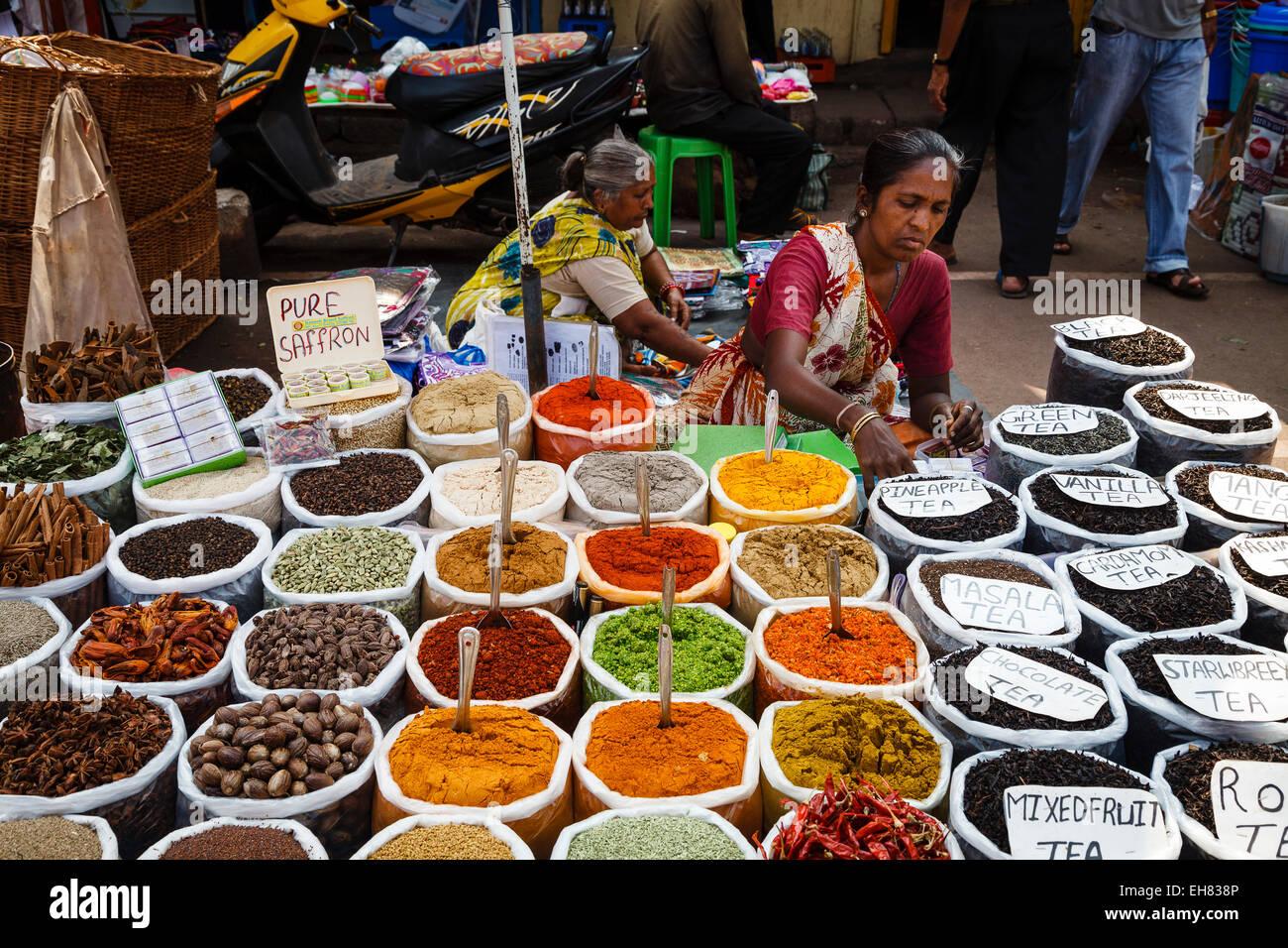 spice stall at mapusa market goa india asia stock photo. Black Bedroom Furniture Sets. Home Design Ideas