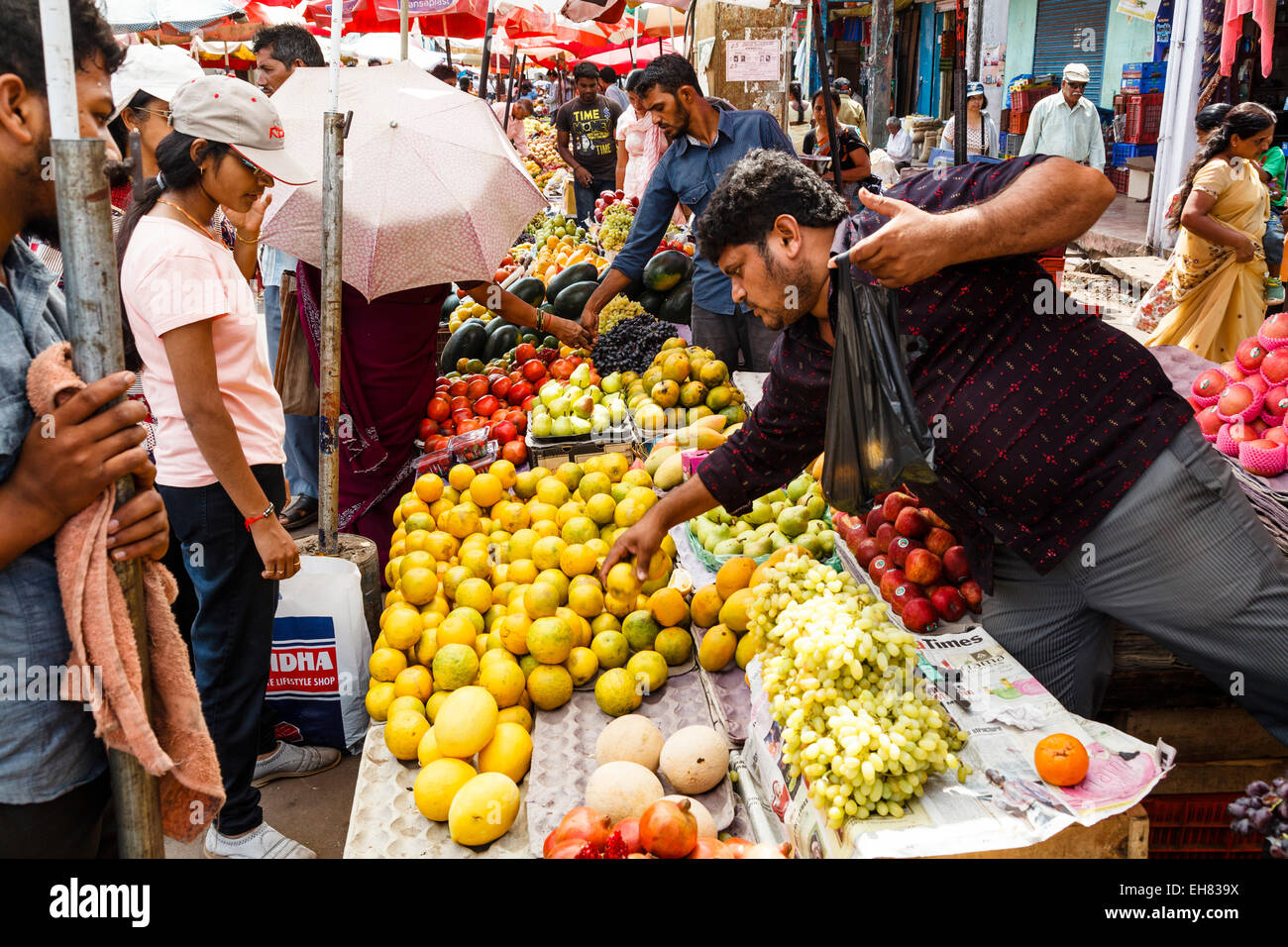 Fruits and vegetables stalls at Mapusa Market, Goa, India, Asia - Stock Image