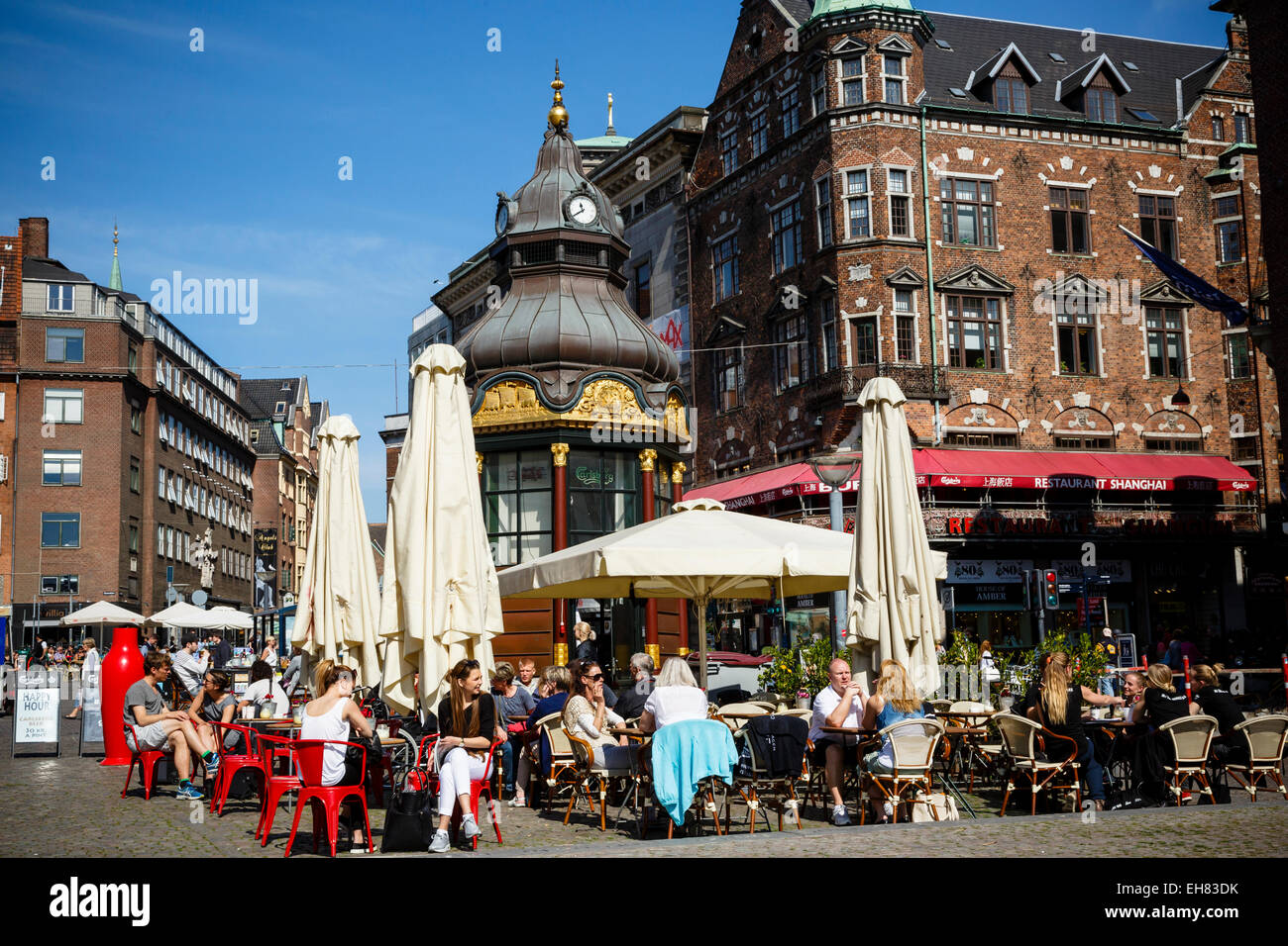 People sitting at a cafe in Nytorv, Copenhagen, Denmark, Scandinavia, Europe Stock Photo