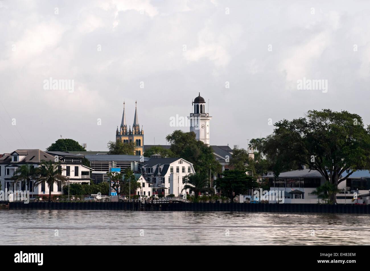 View of Paramaribo from the river, Paramaribo, Suriname, South America - Stock Image