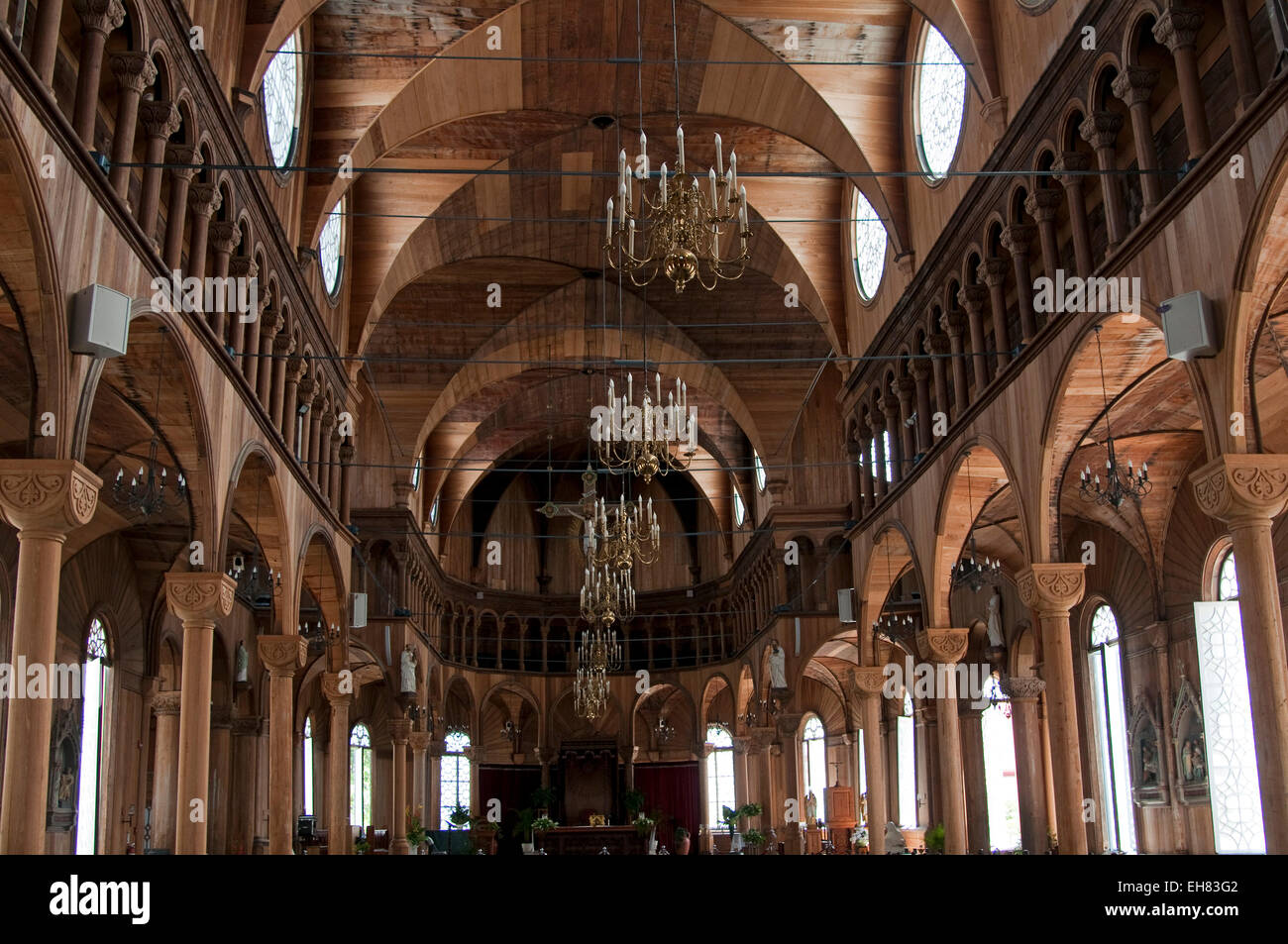 Wooden interior of St. Peter and Paul's Cathedral in Paramaribo, Suriname, South America - Stock Image