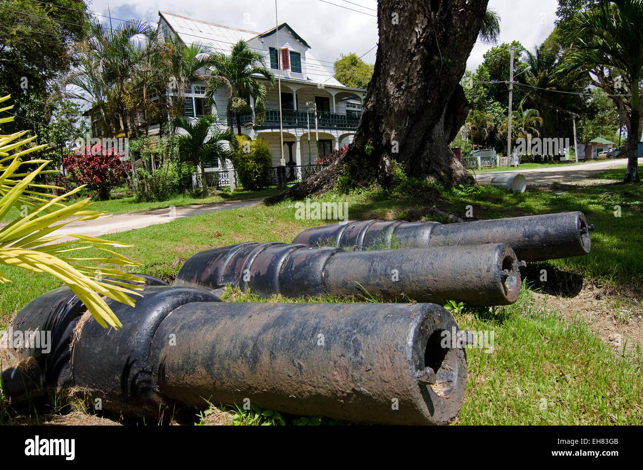 Officers house in the old garrison near the confluence of the Suriname and Commewijne Rivers, Paramaribo, Suriname - Stock Image