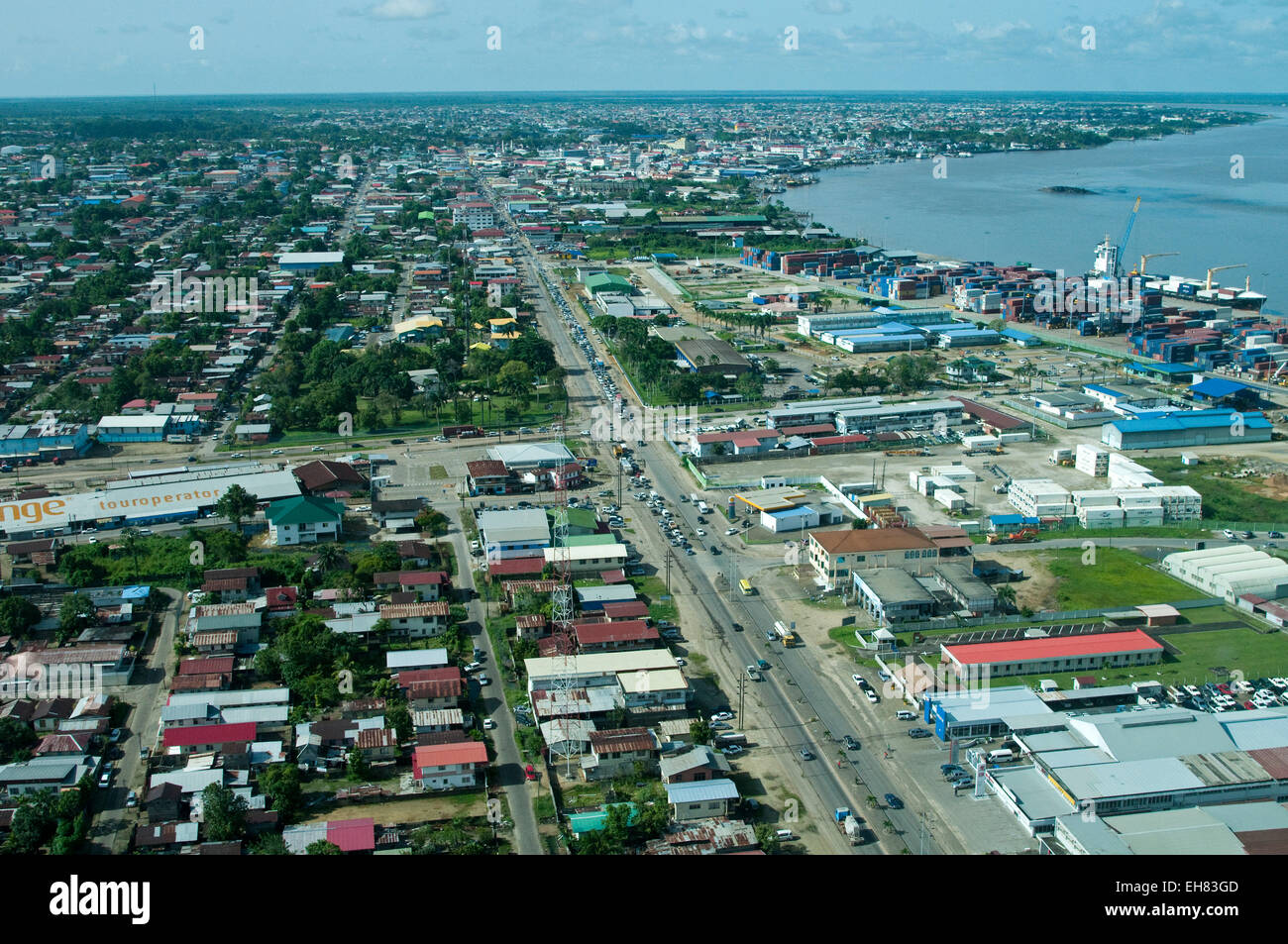 Aerial view of Paramaribo and the Suriname River, Paramaribo, Suriname, South America - Stock Image
