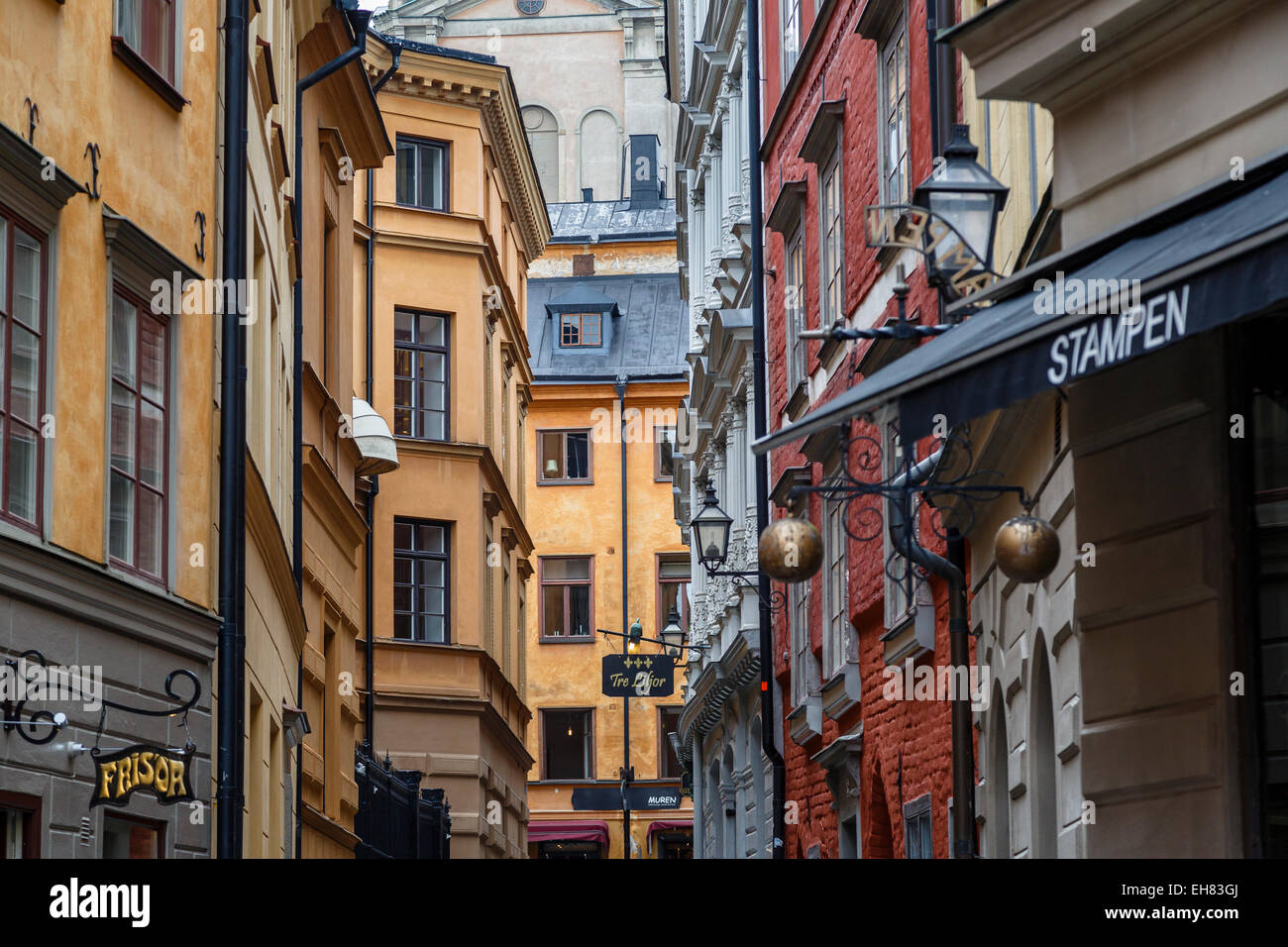 Buildings in Gamla Stan, Stockholm, Sweden, Scandinavia, Europe - Stock Image