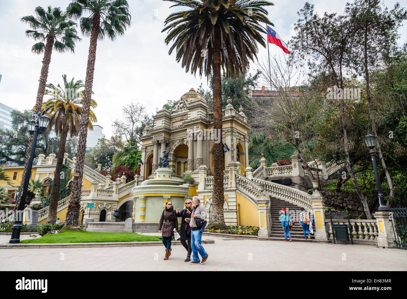 Plaza Neptuno at Cerro Santa Lucia, Santiago, Chile, South America Stock Photo