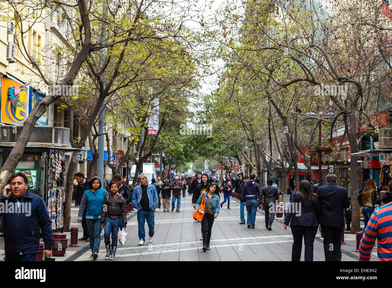 Pedestrian street in the city centre, Santiago, Chile, South America - Stock Image