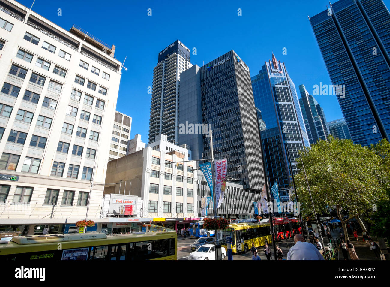 George Street, the main road right in the centre of Sydney, Australia; Town Hall Square; tall buildings; Sydney - Stock Image