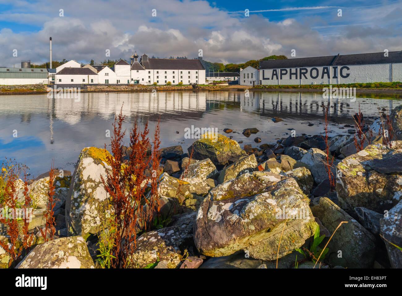 Laphroaig Whisky Distillery, Loch Laphroaig, Islay, Argyll and Bute, Scotland, United Kingdom, Europe - Stock Image