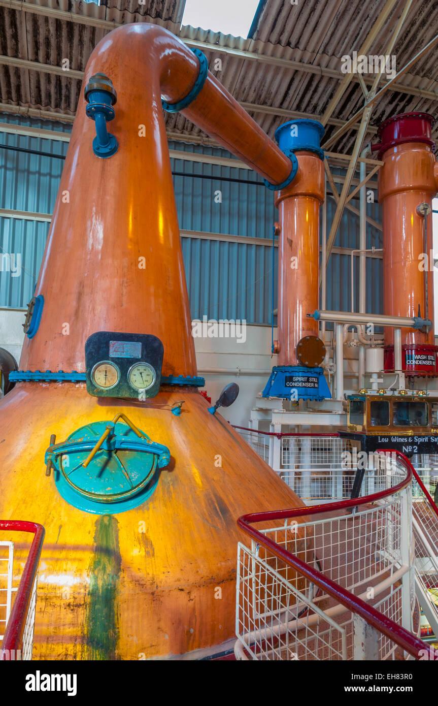 Copper stills, Ben Nevis Whisky Distillery, Fort William, Scotland, United Kingdom, Europe - Stock Image