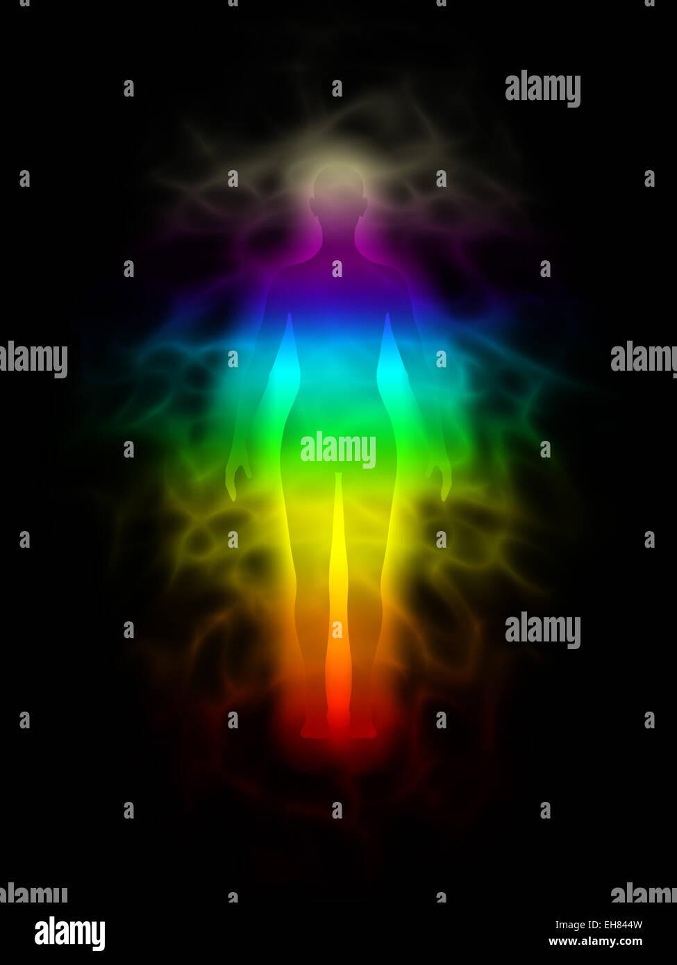 rainbow silhouette of human body with aura woman stock photo
