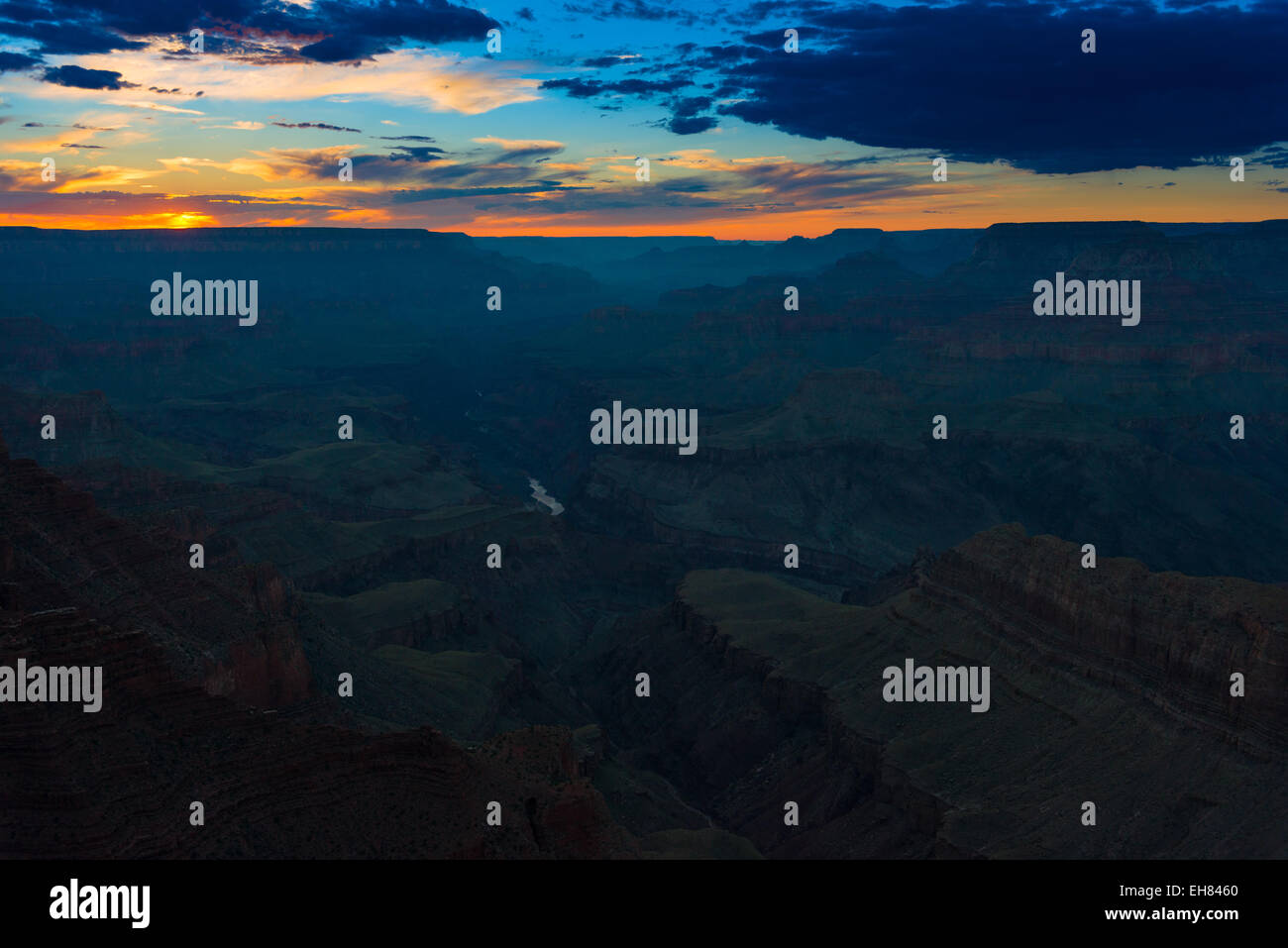 Grand Canyon And Colorado River Landscape At Sunset, Arizona - Stock Image