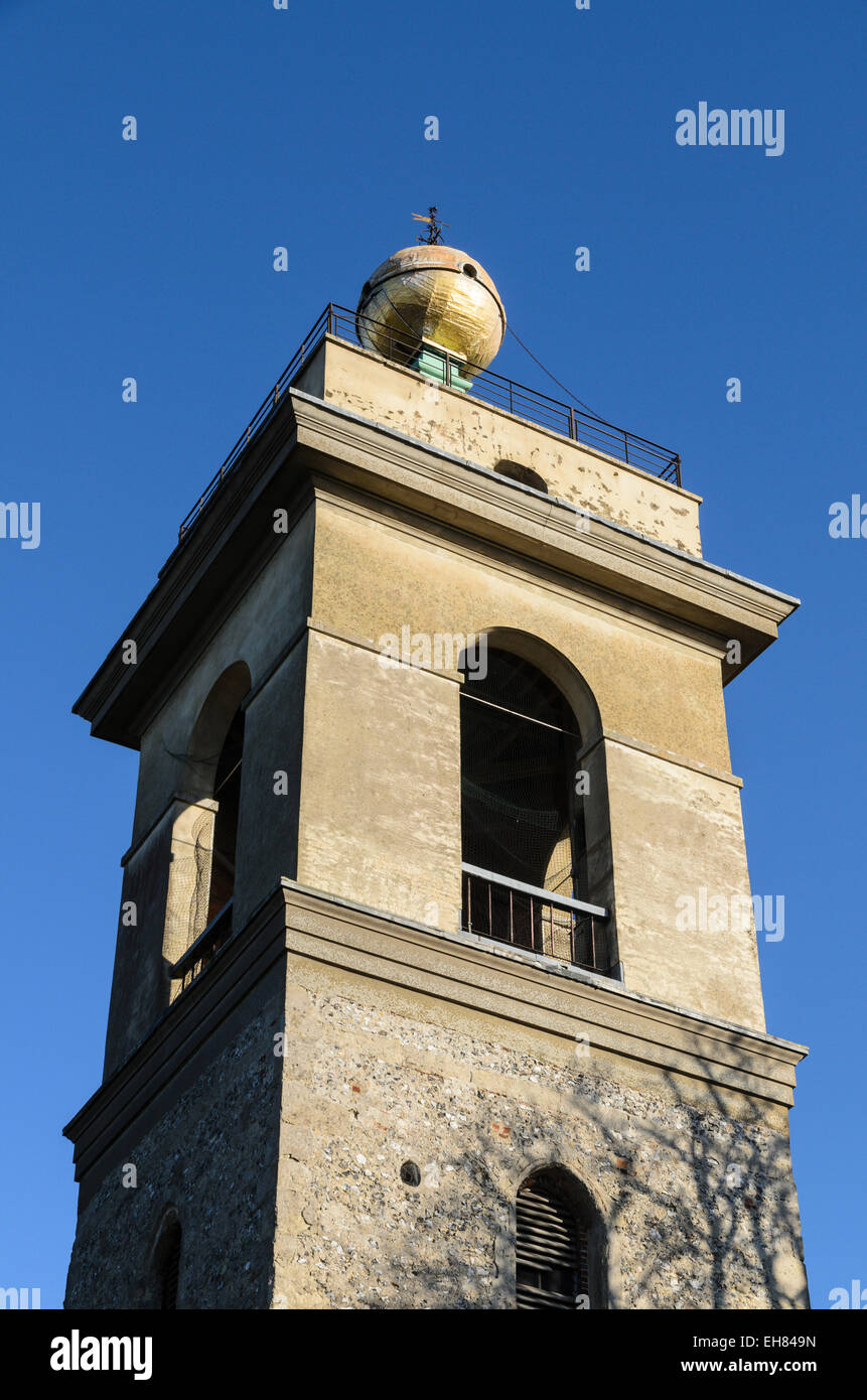 The Golden Ball sits on top of the tower of The Church of St Lawrence, West Wycombe. - Stock Image