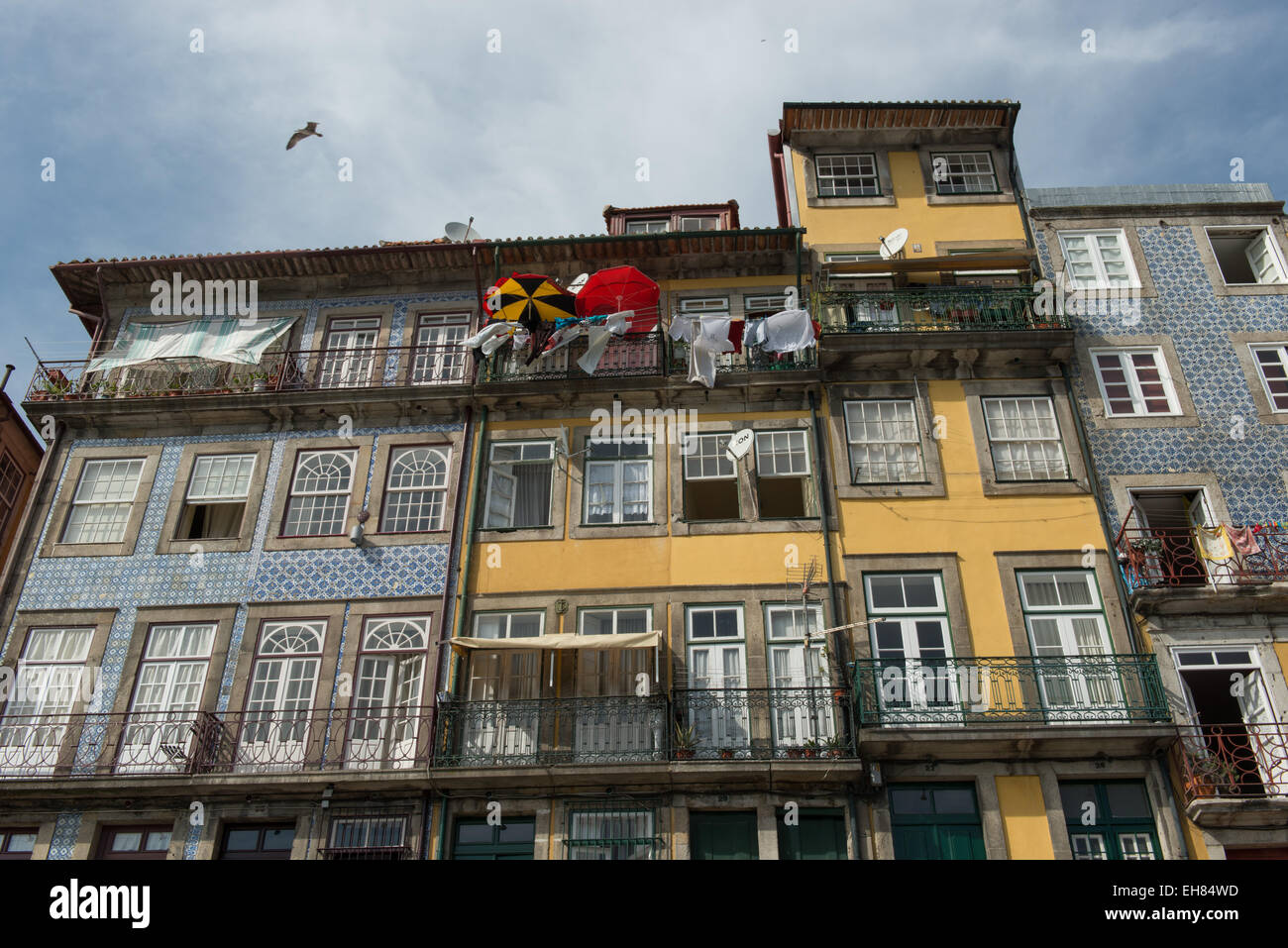 Porto, buildings and houses in the Ribeira district - Stock Image