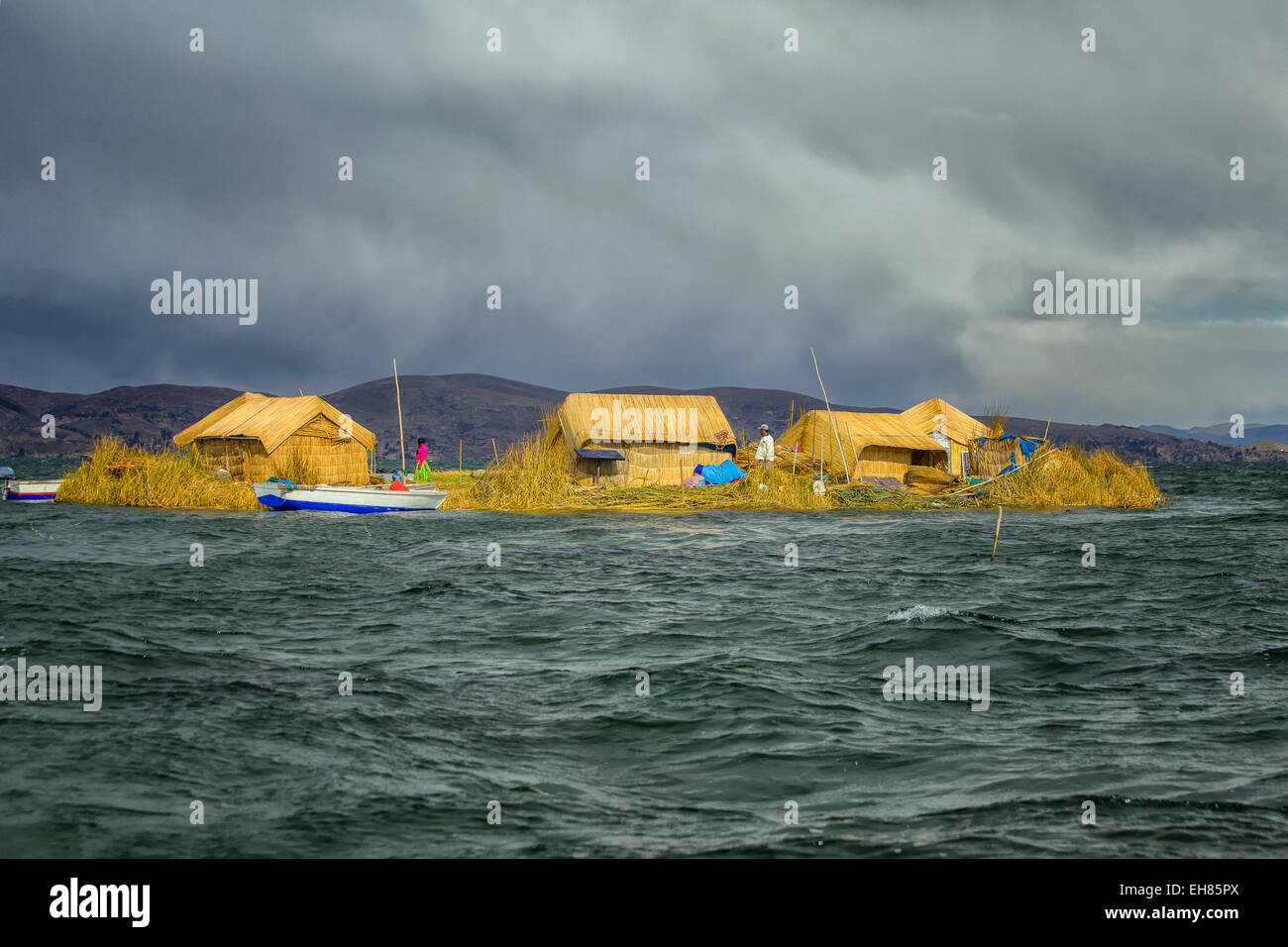 The floating Islands of lake Titicaca in Peru - Stock Image