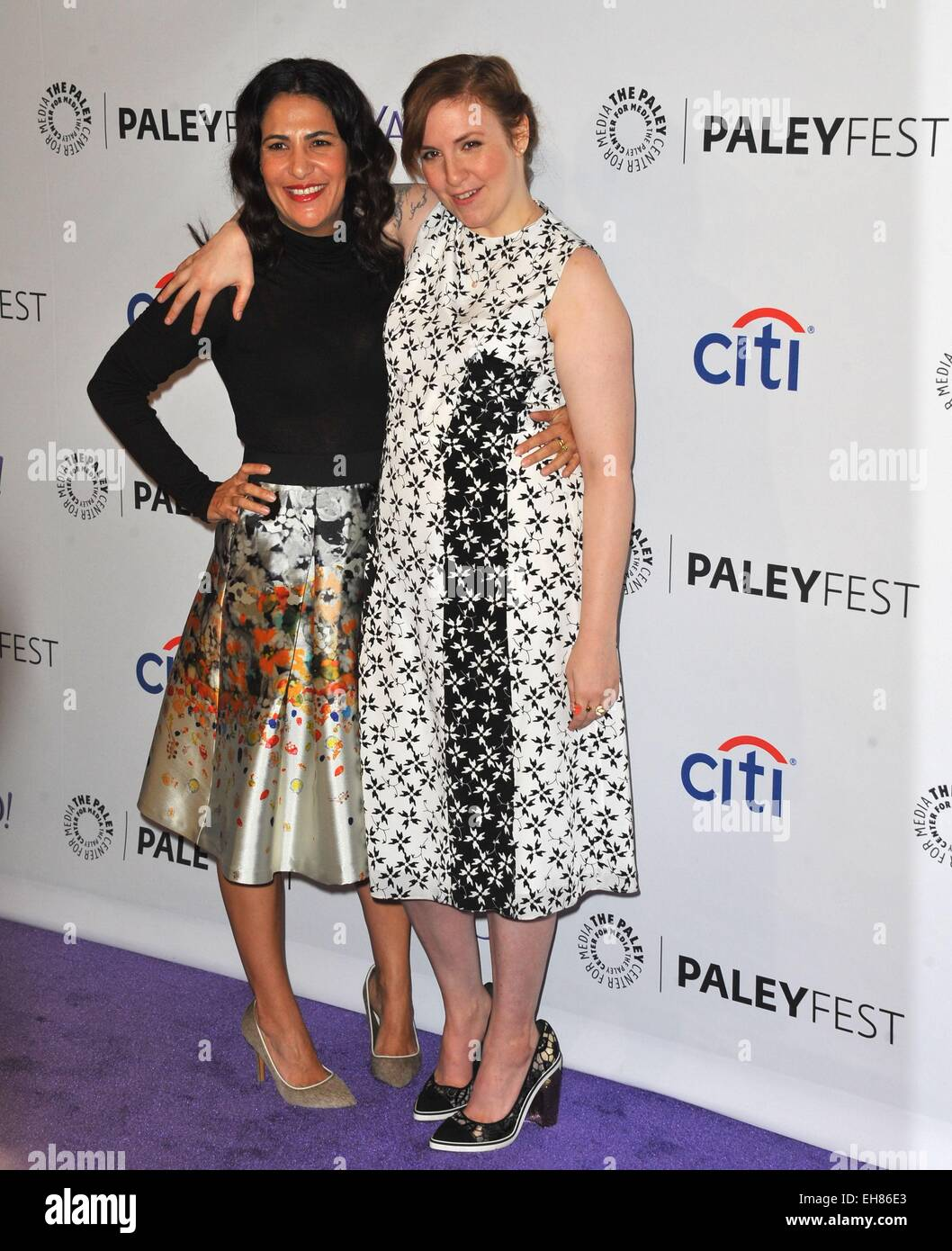 Los Angeles, CA, USA. 8th Mar, 2015. Jenni Kenner, Lena Dunham at arrivals for 32nd Annual PALEYFEST Honors HBO's - Stock Image