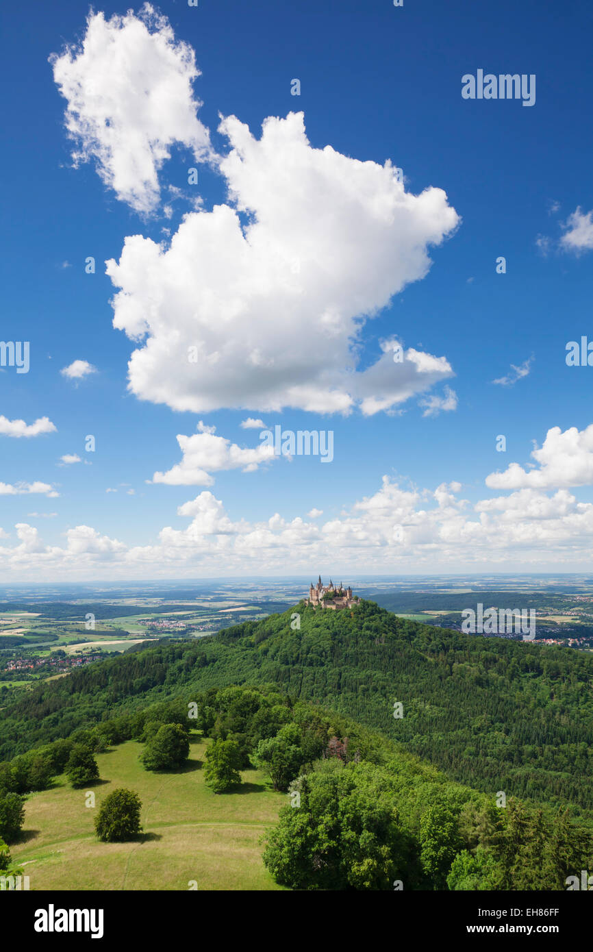 Burg Hohenzollern Castle, Zollernalb, Schwaebische Alb (Swabian Alb), Baden Wurttemberg, Germany, Europe - Stock Image
