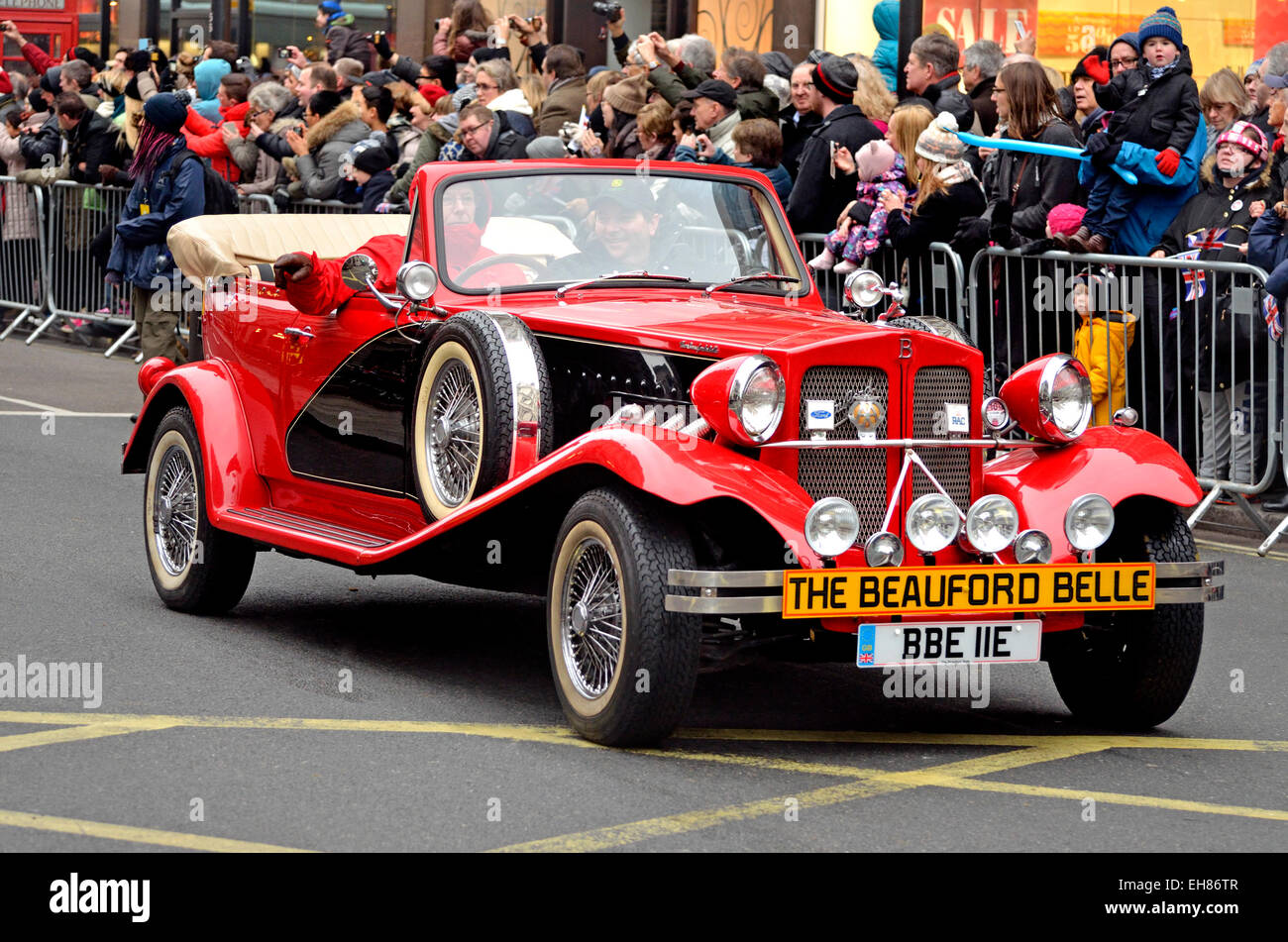 London, 1st January 2015. New Year's day Parade from Piccadilly to Parliament Square - Beauford belle (BBE IIE) - Stock Image