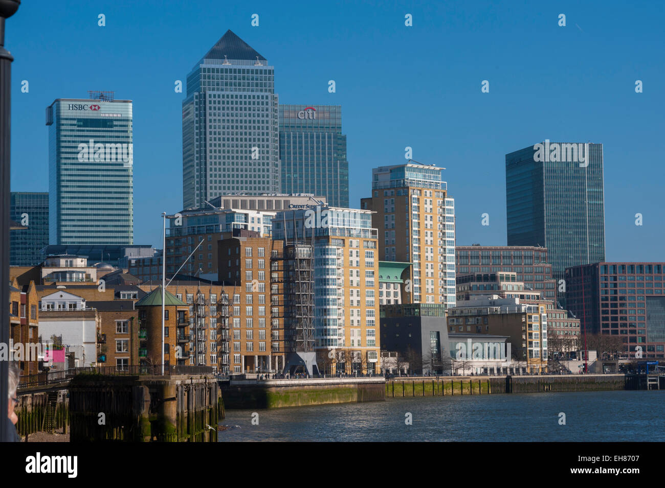 Looking at the towers of Docklands from Limehouse. - Stock Image