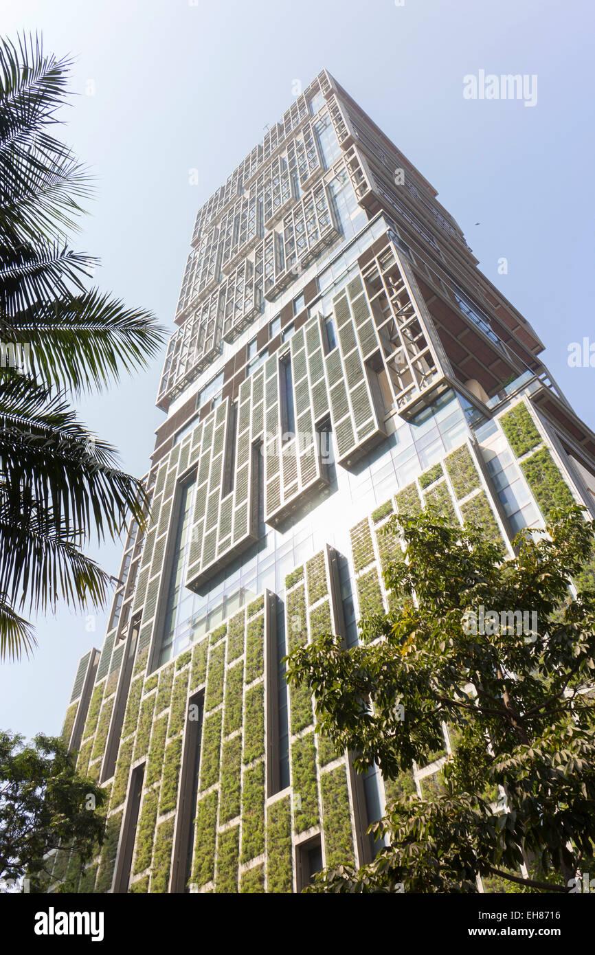 Antilia, the Ambani building, most expensive private property in the world, Mumbai, Maharashtra, India, Asia - Stock Image