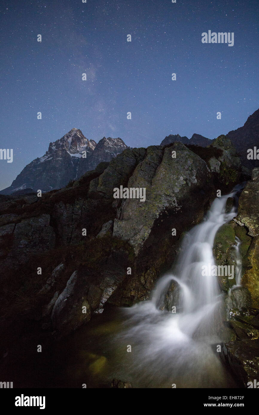 The sources of River Po, the longest in Italy, by Monviso (Monte Viso) mountain, Piedmont, Italy, Europe - Stock Image