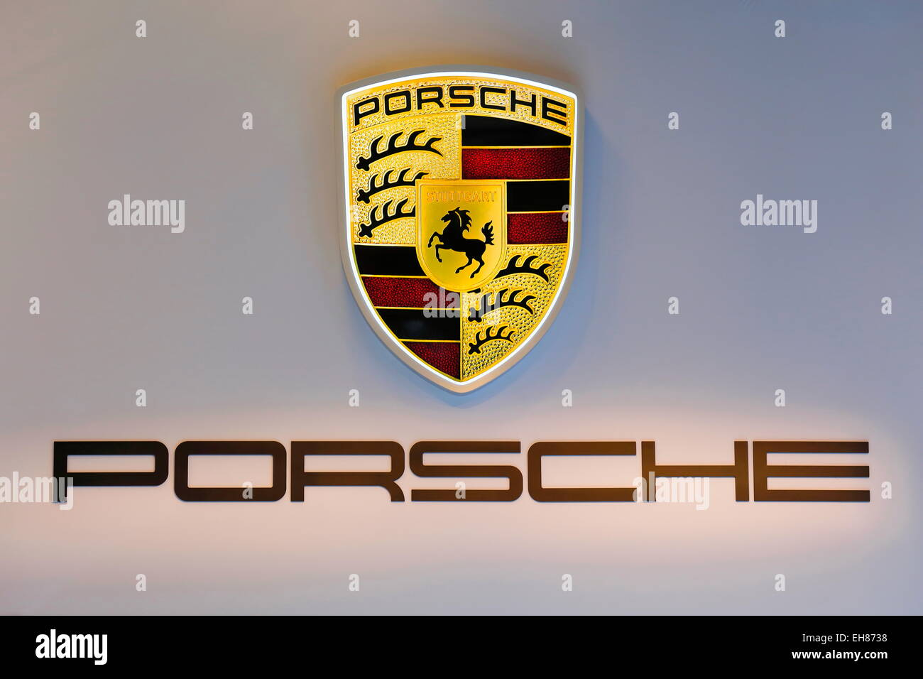 Porsche Company Logo Salon De L Automobile Montreal Quebec Stock