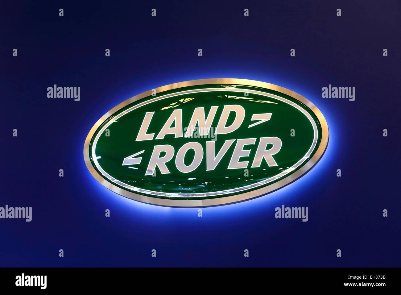 Land Rover company logo, Salon de l'Automobile, Montreal, Quebec Province, Canada - Stock Image