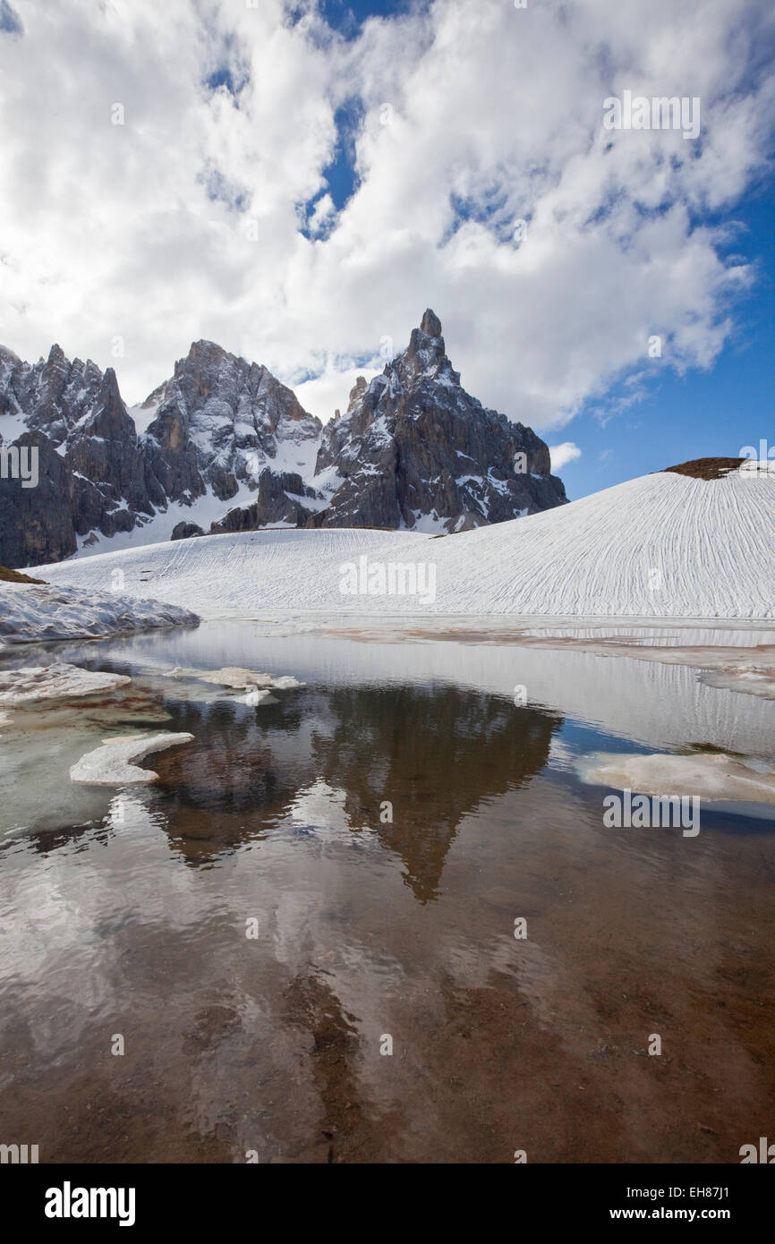 Thawing snow leaving some puddles at the foot of the Pale di San Martino by San Martino di Castrozza, Dolomites, Stock Photo
